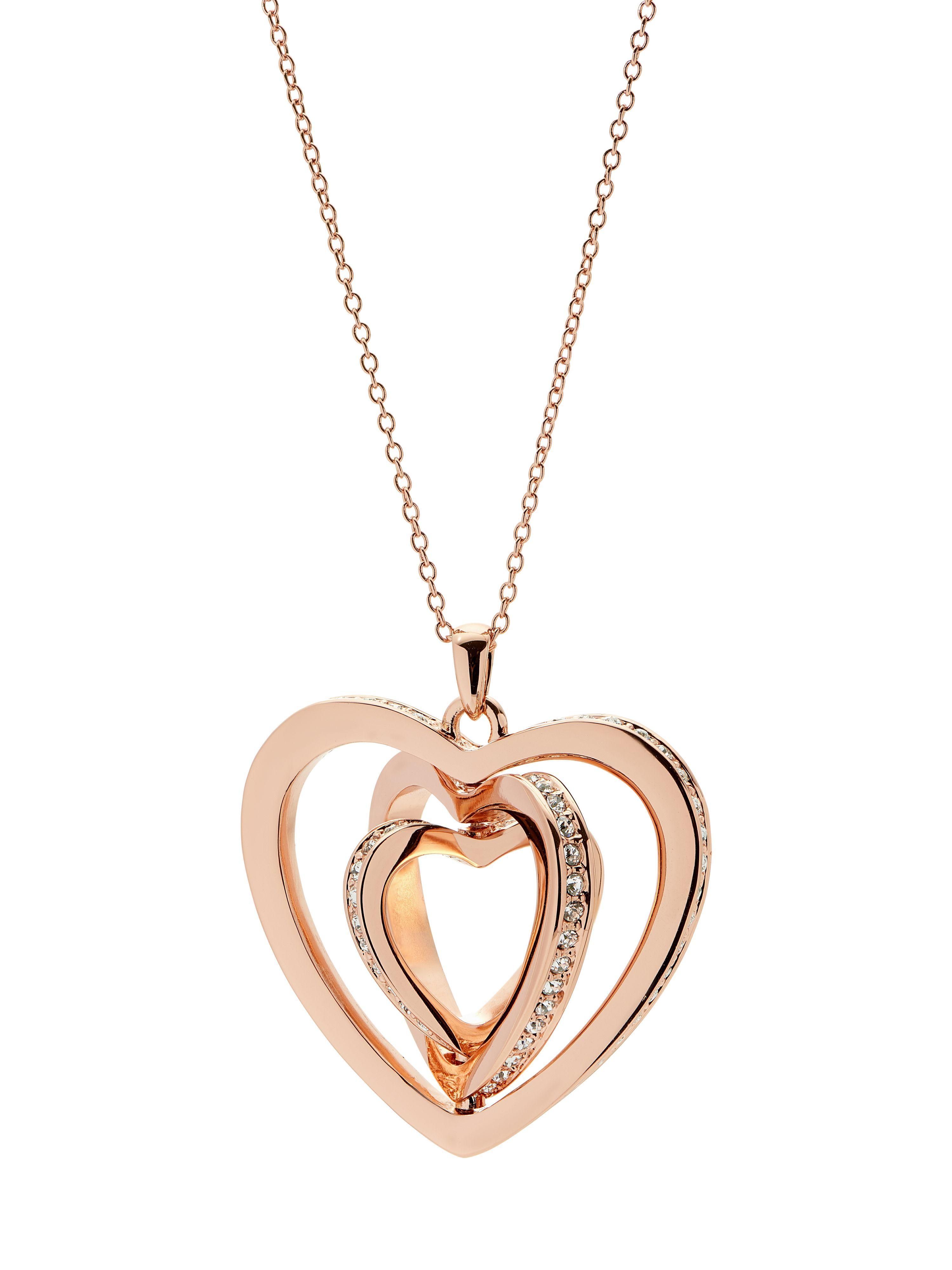 Ted Baker Helinna Rose Gold Crystal Heart Pendant in Metallic