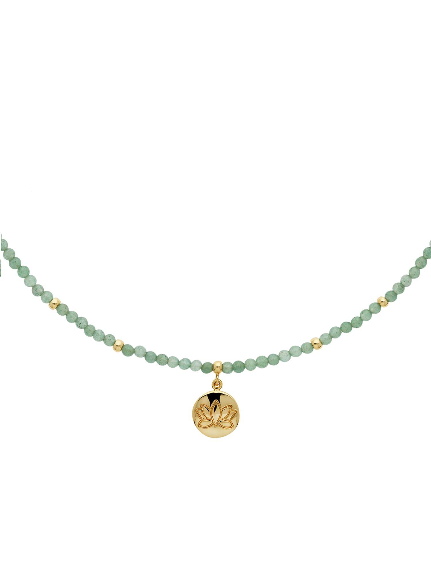 Melissa Odabash Jade Gold Lotus Flower Disc Necklace in Metallic