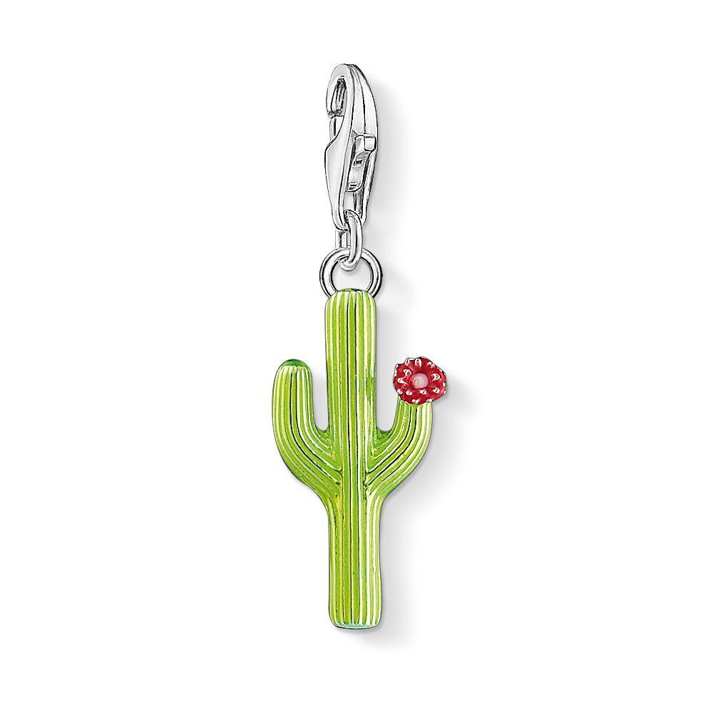 thomas sabo charm club cactus charm in green lyst. Black Bedroom Furniture Sets. Home Design Ideas