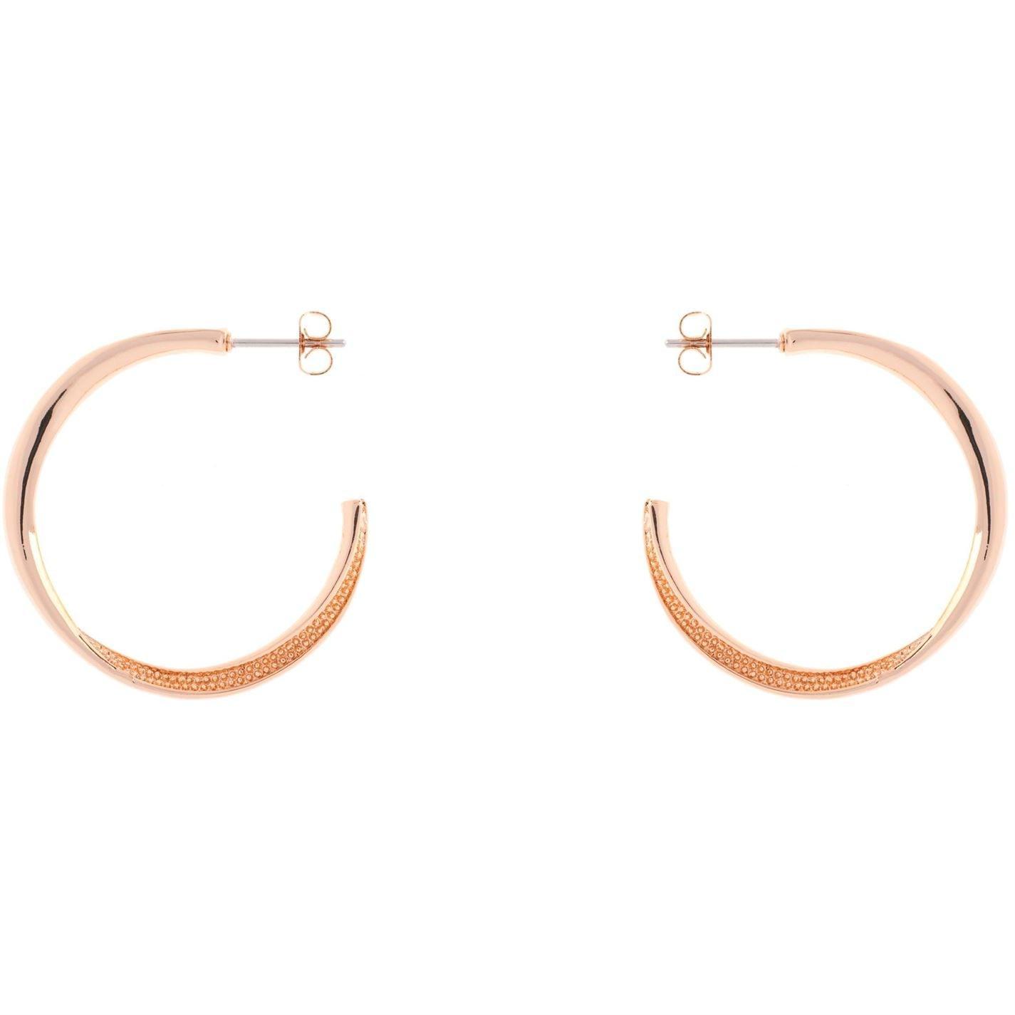 Karen Millen K8992403 Textured Twist Hoop Earrings In Rose Gold Metallic Lyst