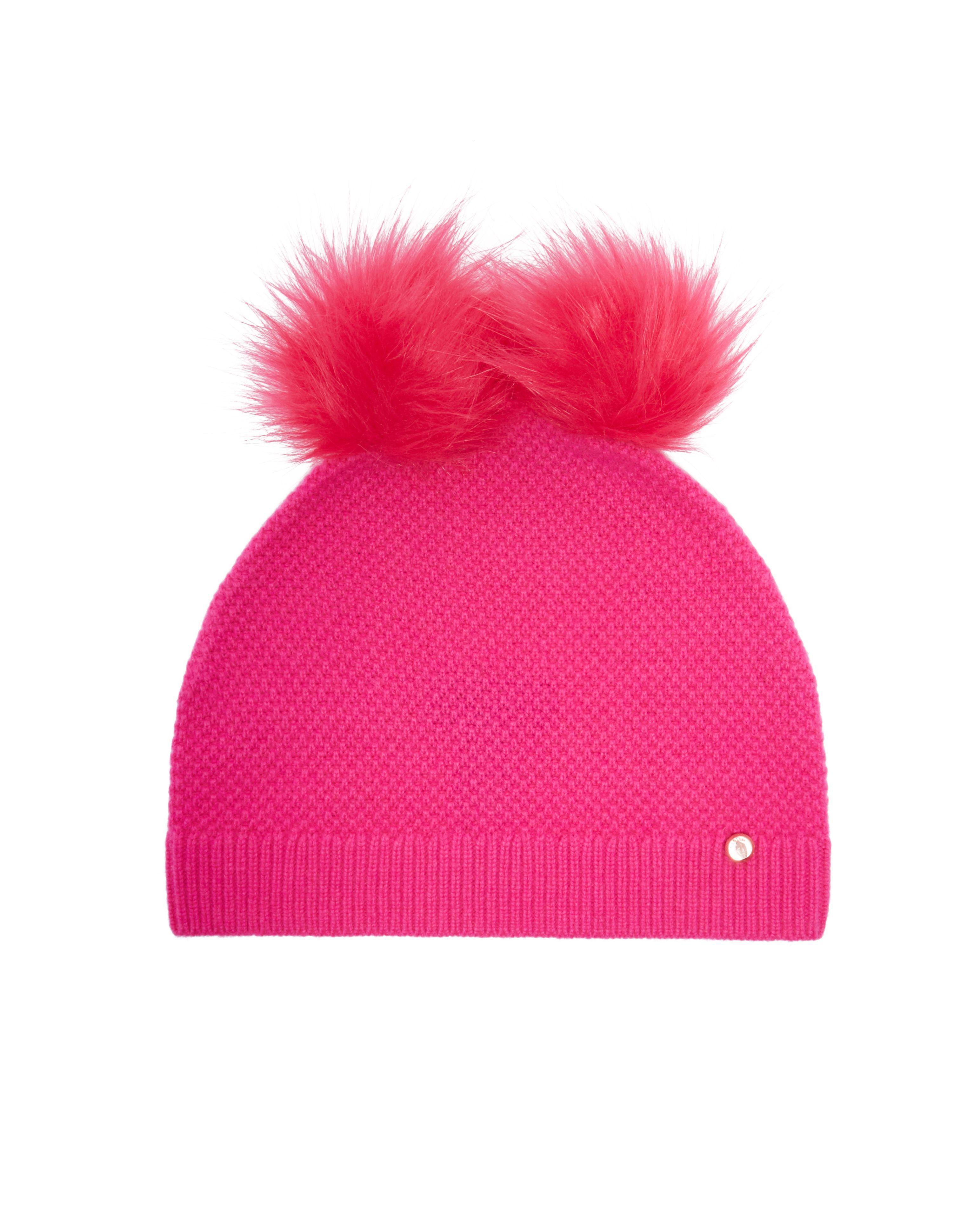 ba009472088 Ted Baker Inita Double Pom-pom Hat in Pink - Lyst