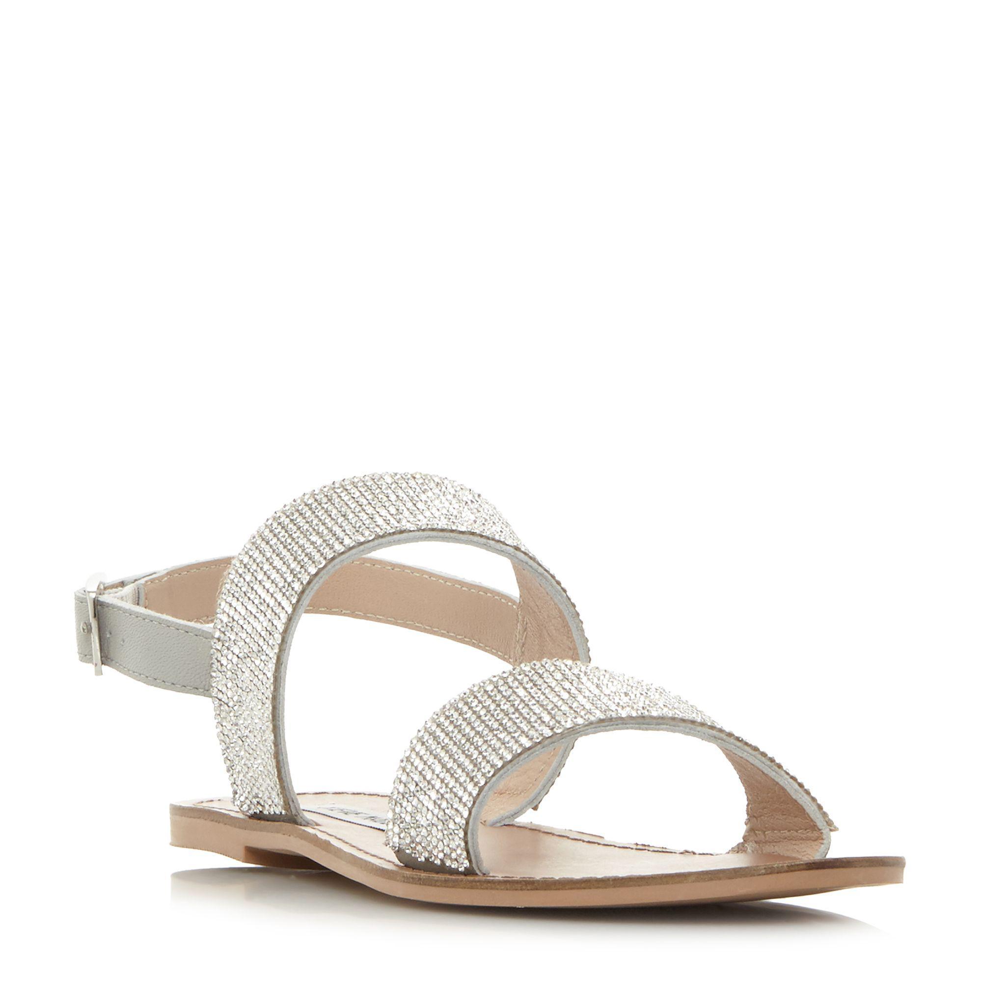 Steve Madden. Women's Metallic Alea Two Part Diamante Flat Sandals
