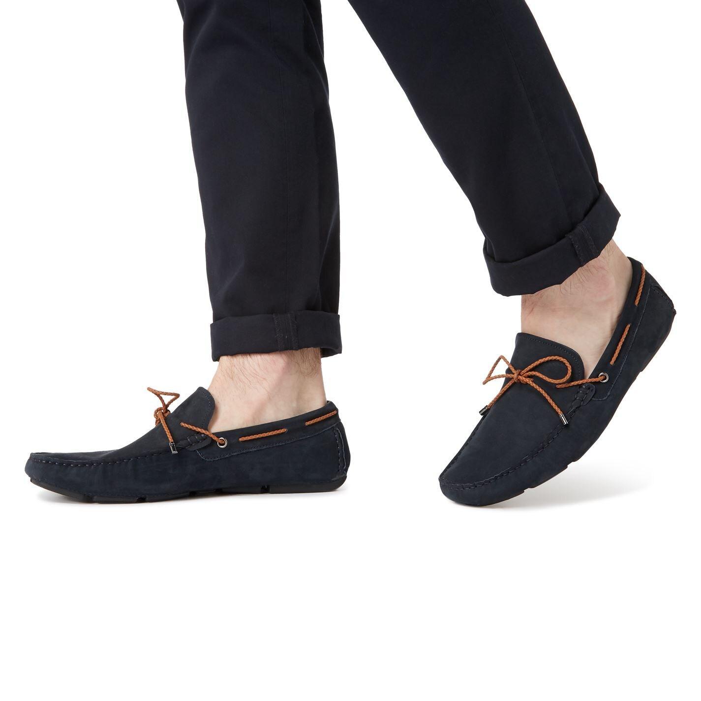 Dune Brandstable Plait Lace Driver Shoes in Navy (Blue) for Men