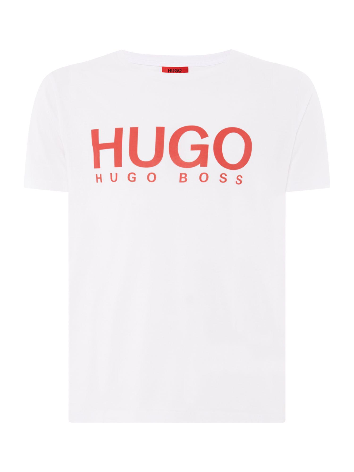 8c299691 HUGO - White Men's Dolive Large Logo T-shirt for Men - Lyst. View fullscreen