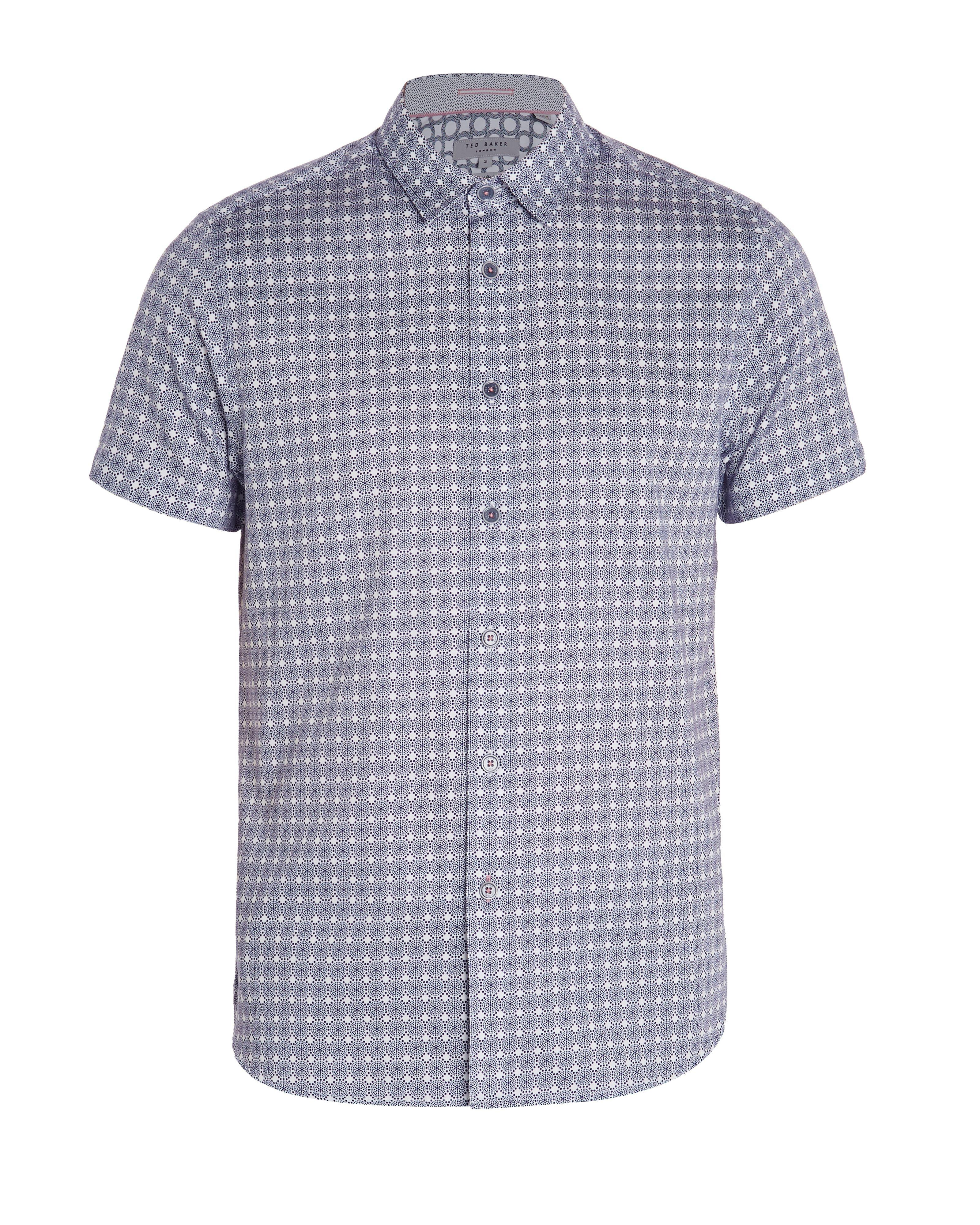 19aae521f Ted Baker Men s Modmo Circle Print Cotton Shirt in Blue for Men - Lyst