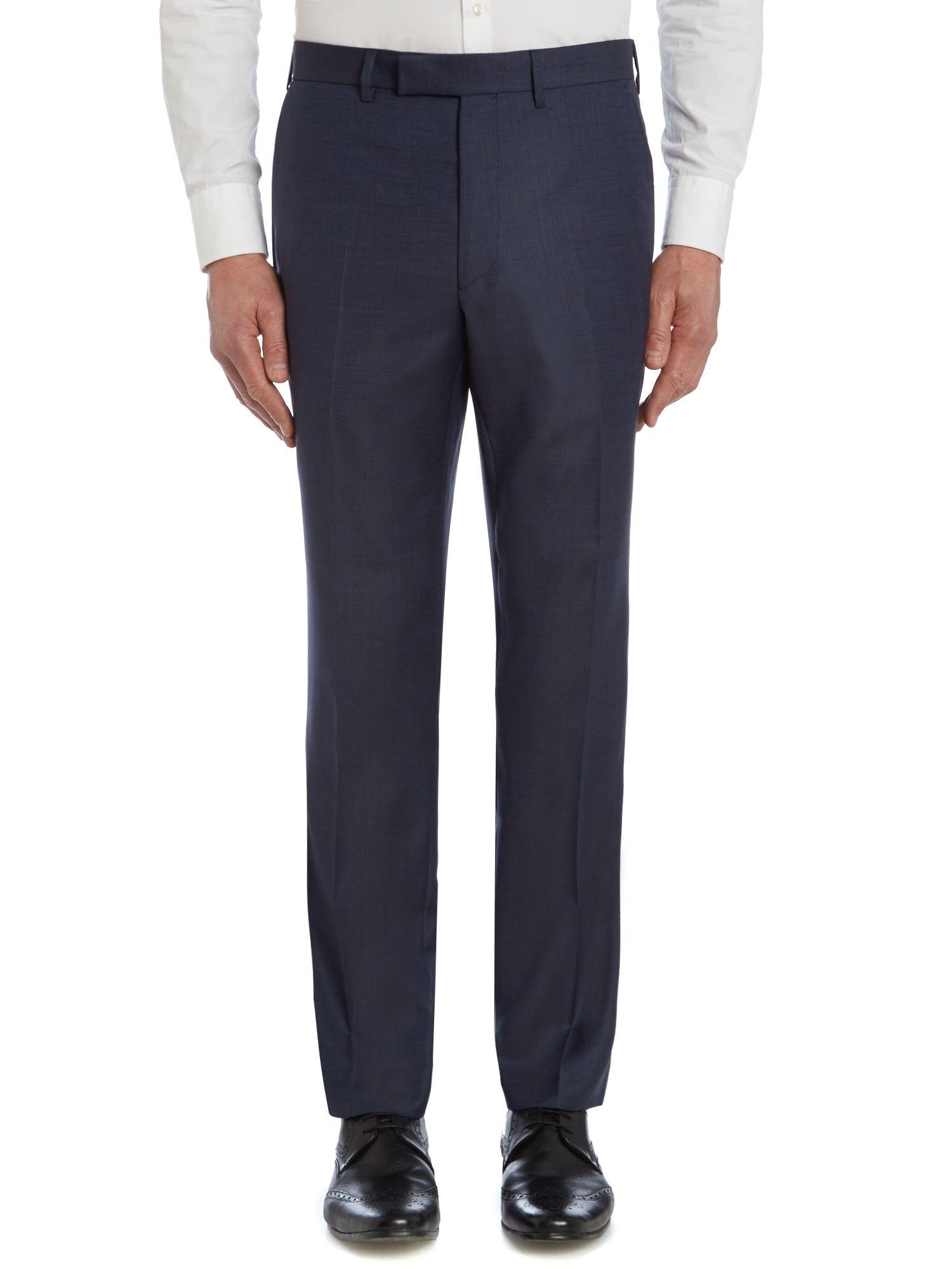 Simon Carter Wool Twill Regular Fit Suit Trousers in Navy (Blue) for Men