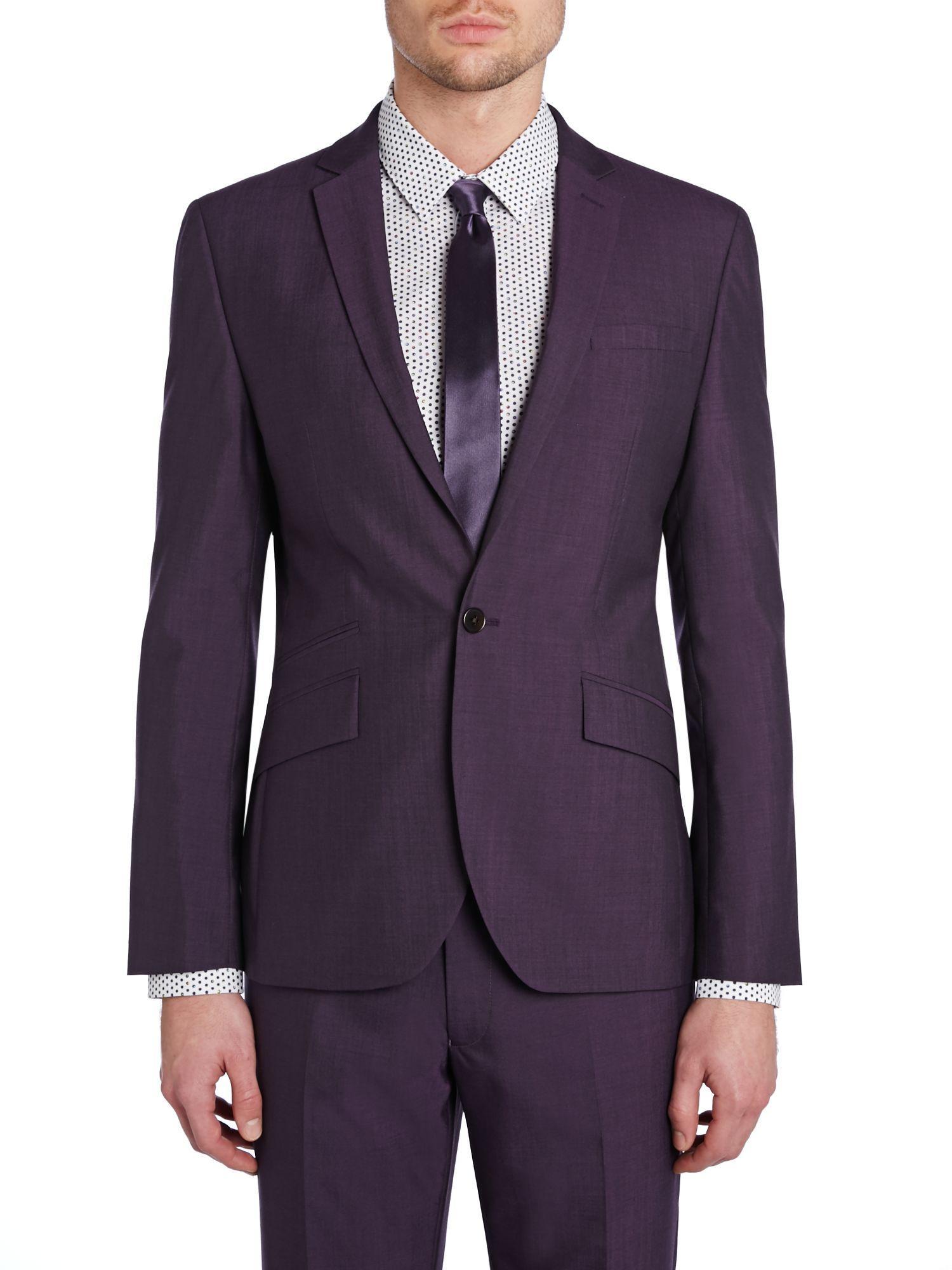 Kenneth Cole Wool Earl Slim Fit Notch Lapel Suit Jacket in Dark Purple (Purple) for Men