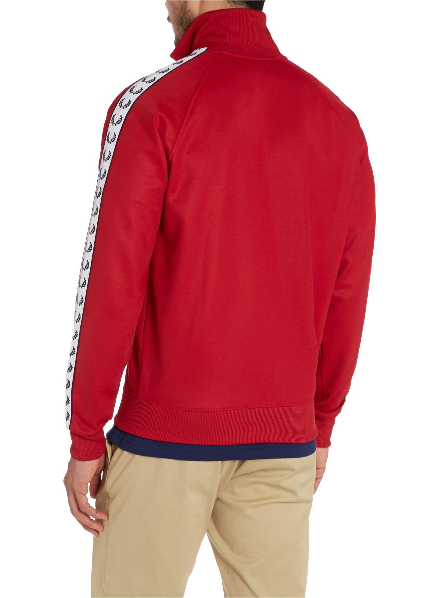 Fred Perry Cotton Plain Funnel Neck Tracksuit in Red for Men