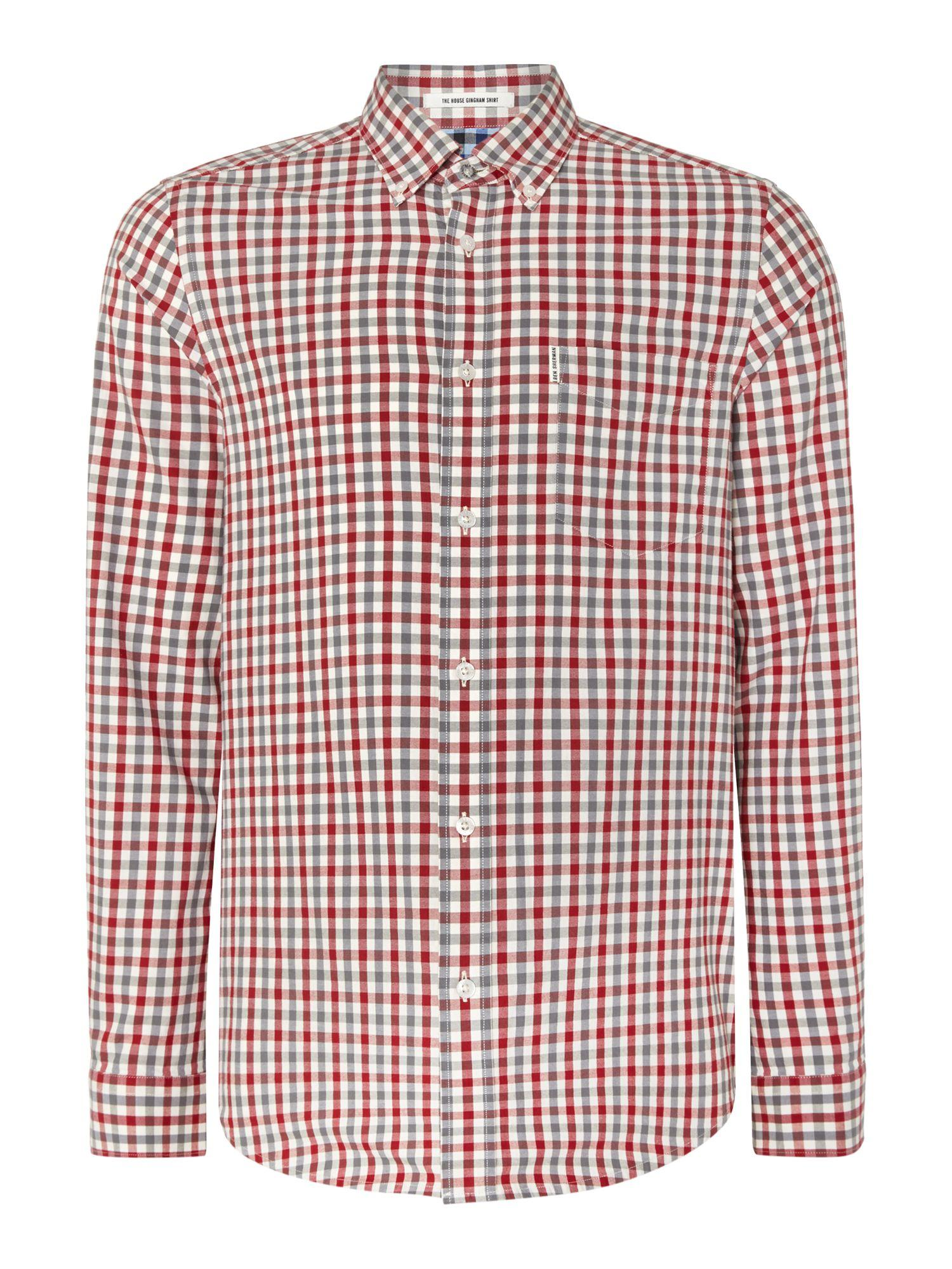 Ben Sherman House Gingham Check Long Sleeve Shirt In Red