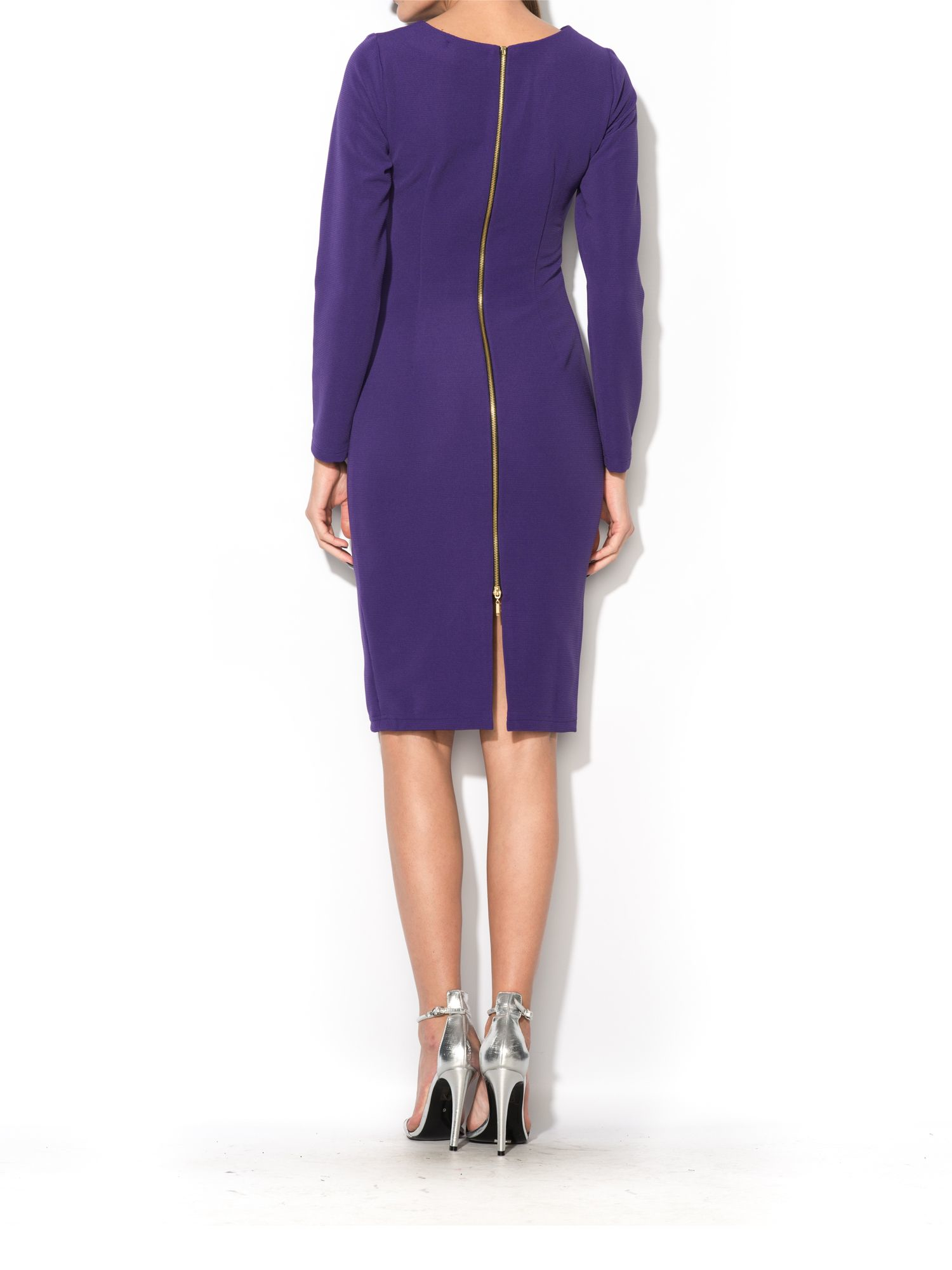 Maiocci collection bodycon dress with zip detail in purple for Housse zip collection captur