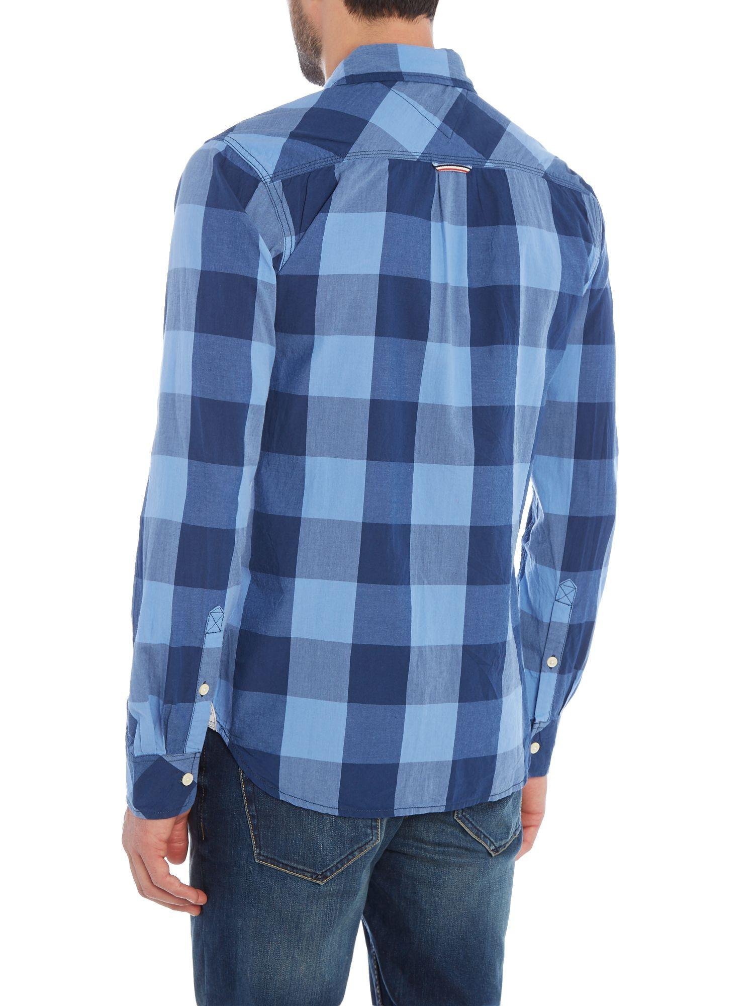 Lyst tommy hilfiger faber check slim fit long sleeve for Quality classic house of fraser