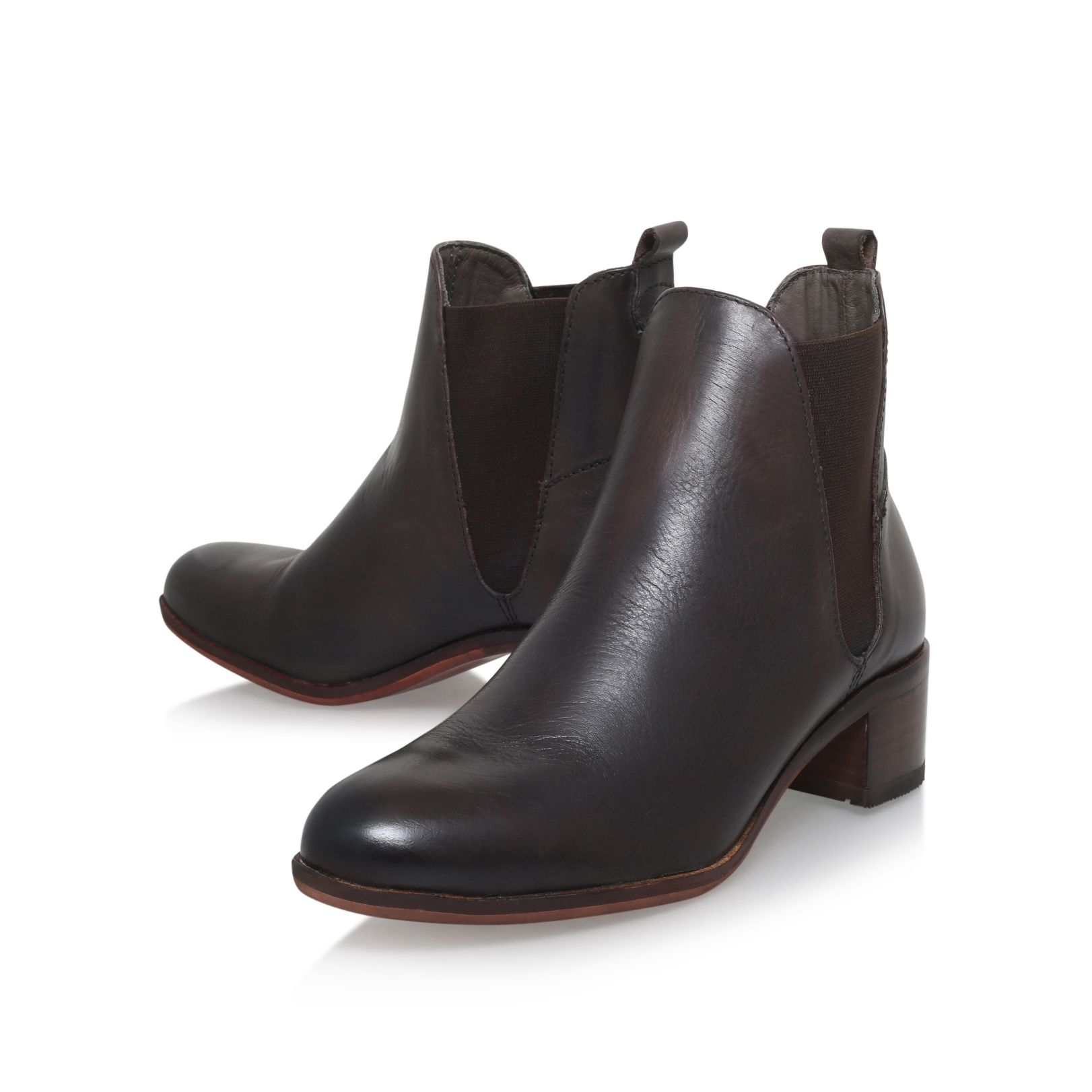 H by Hudson Leather Compound Mid Block Heel Ankle Boots in Brown (Black)