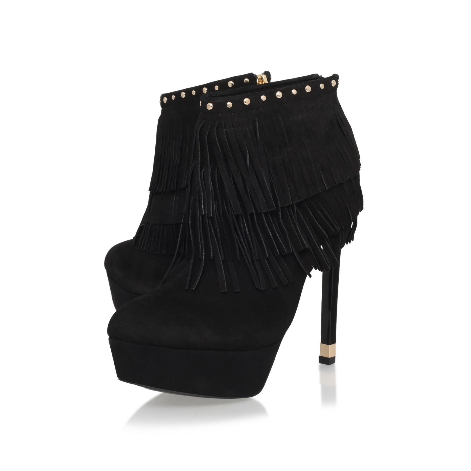 KG by Kurt Geiger Leather Scala High Platform Fringe Ankle Boots in Black