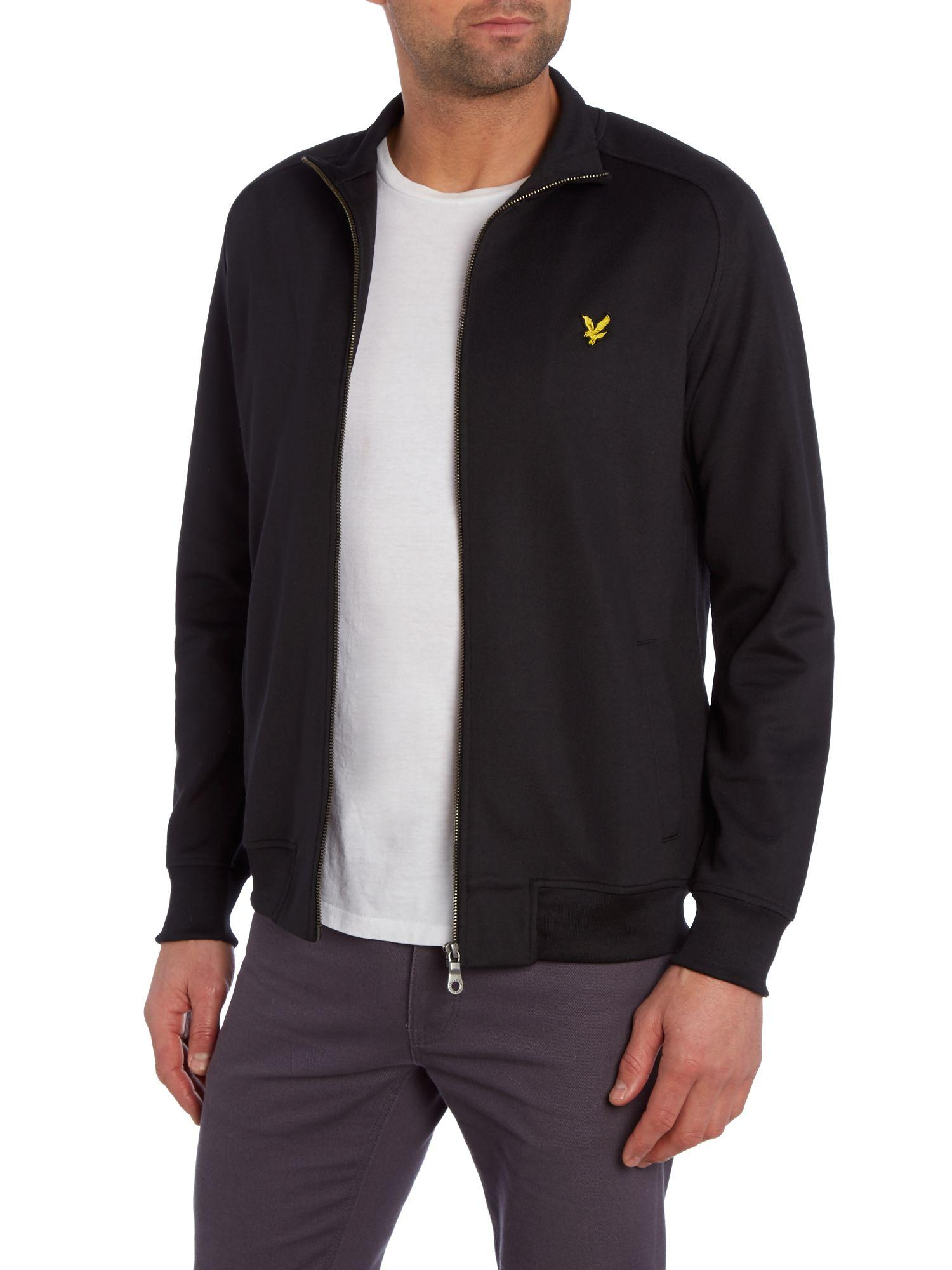 Lyle & Scott Zip Through Tricot Jacket in Black for Men