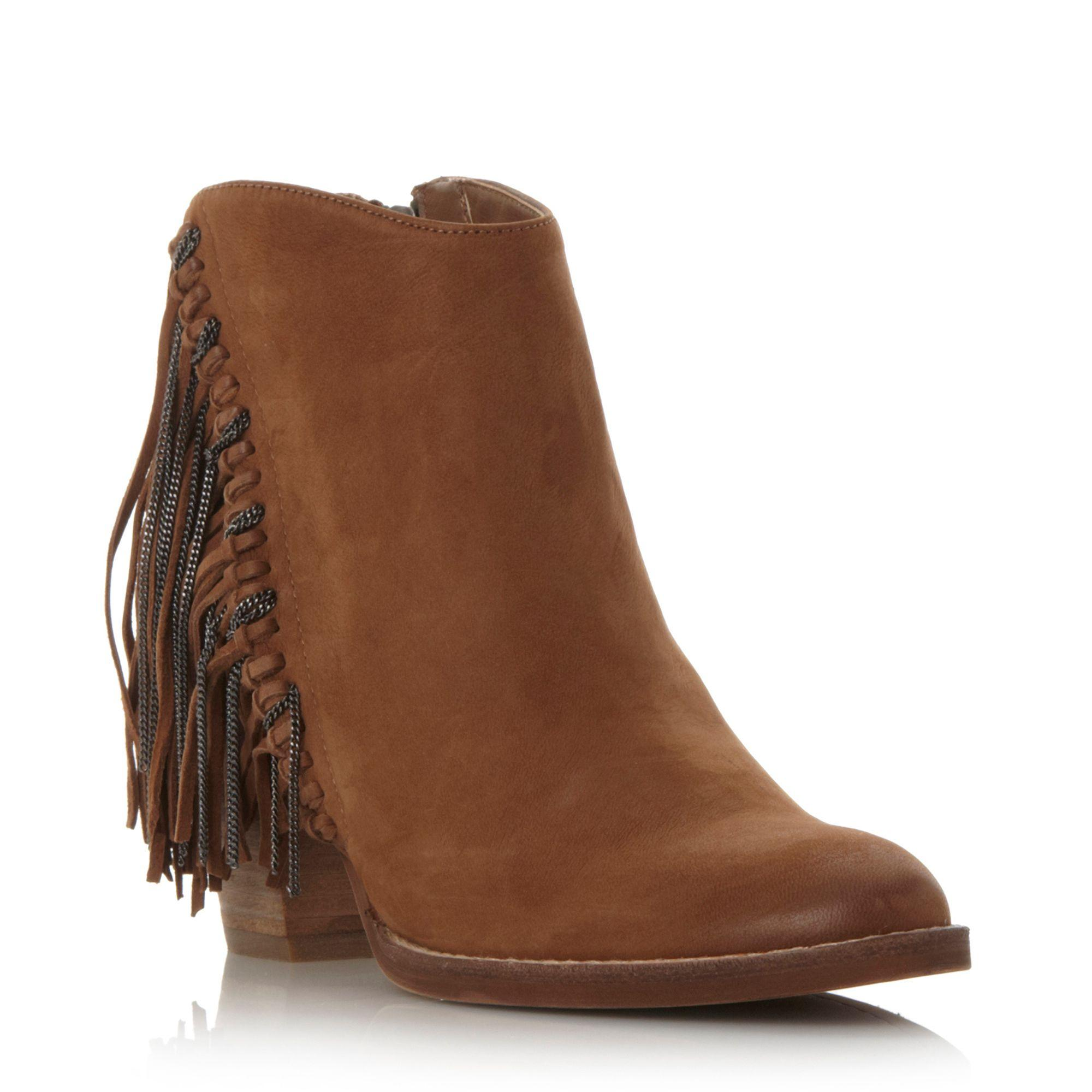 dolce vita juneau fringe detail ankle boots in brown lyst