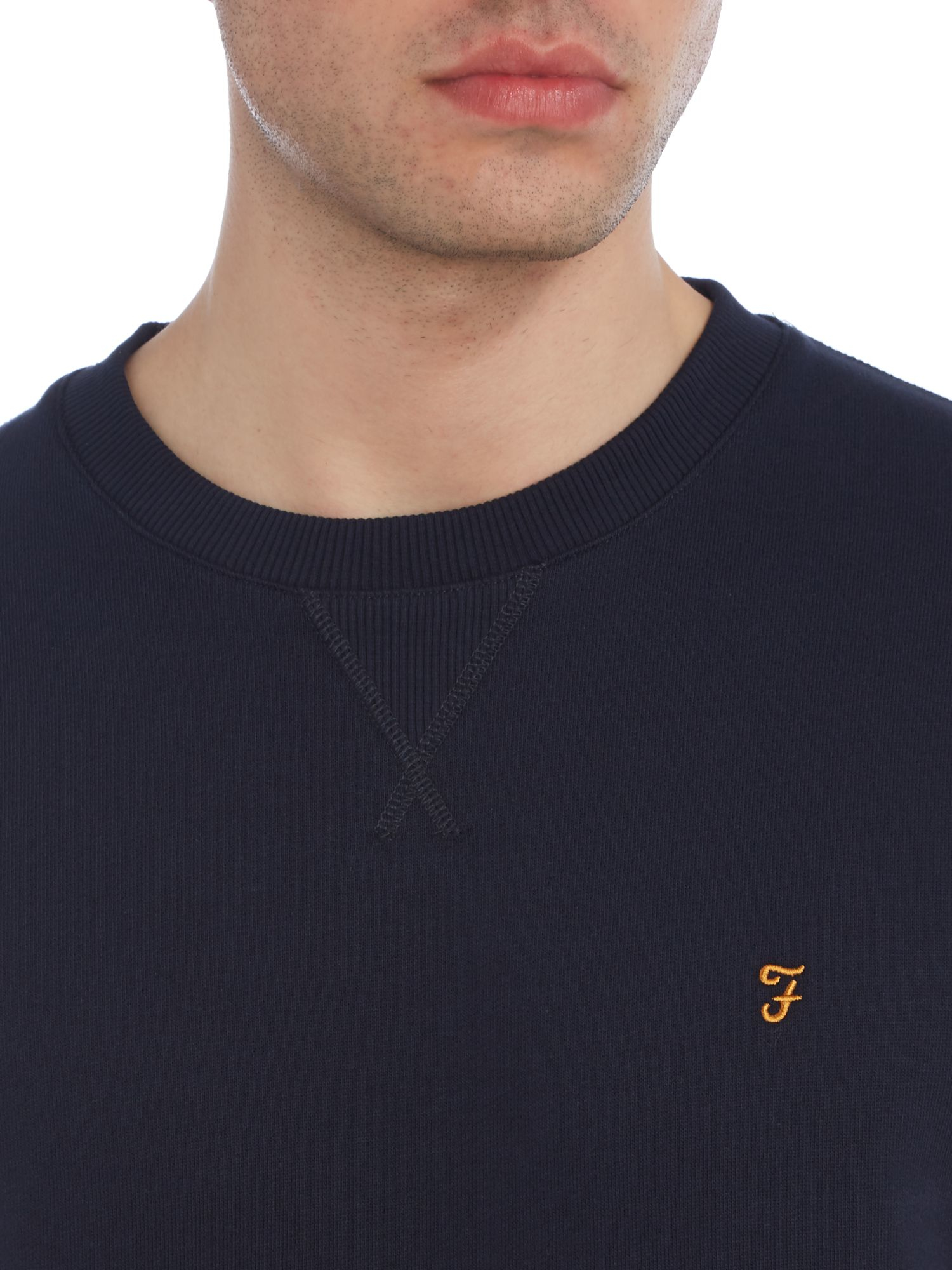 Farah Cotton Bernard Regular Fit Loopback Crew Neck Sweat in Navy (Blue) for Men