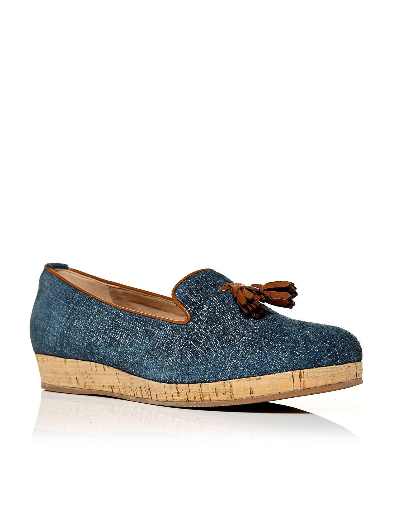 Moda In Pelle Estana Cork Sole Slippers In Blue Lyst