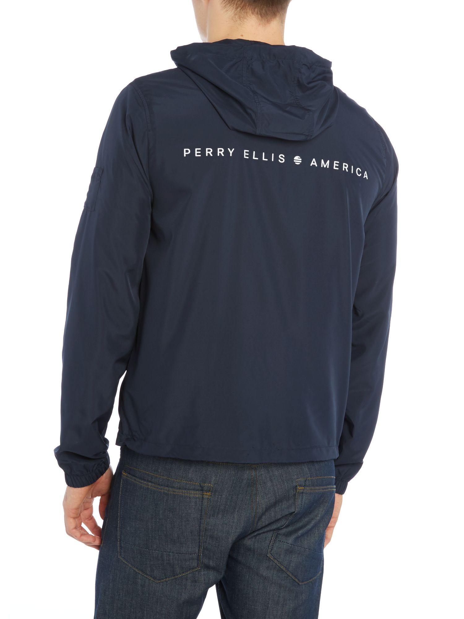 Perry Ellis Synthetic Hooded Zip Through Jacket in Navy (Blue) for Men