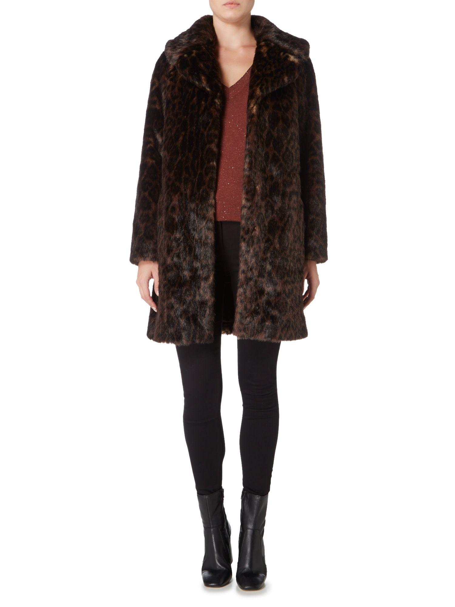 Biba Leopard Faux Fur Coat In Brown Lyst