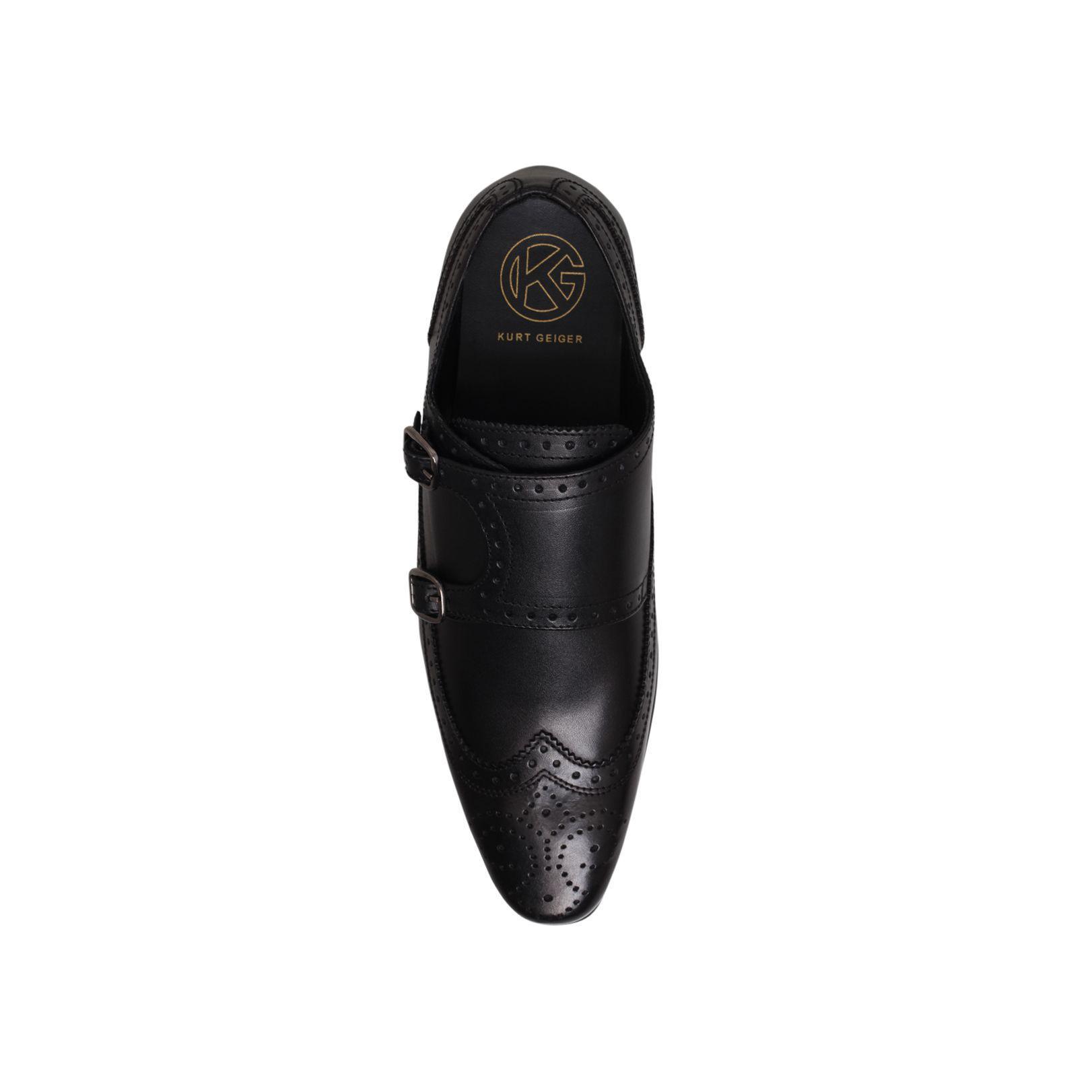 KG by Kurt Geiger Kurt Geiger Elstree Black Leather Monk Shoes for Men