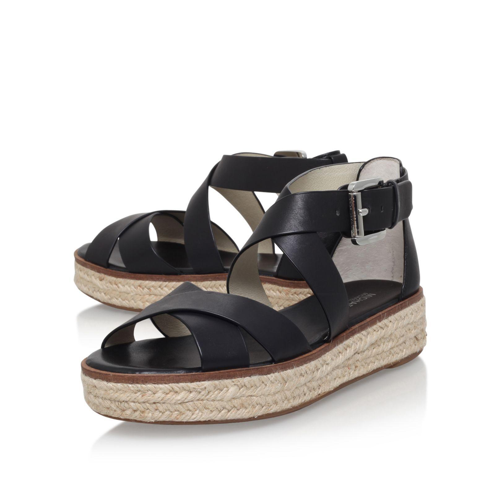 michael kors darby flat espadrille sandals in black lyst. Black Bedroom Furniture Sets. Home Design Ideas