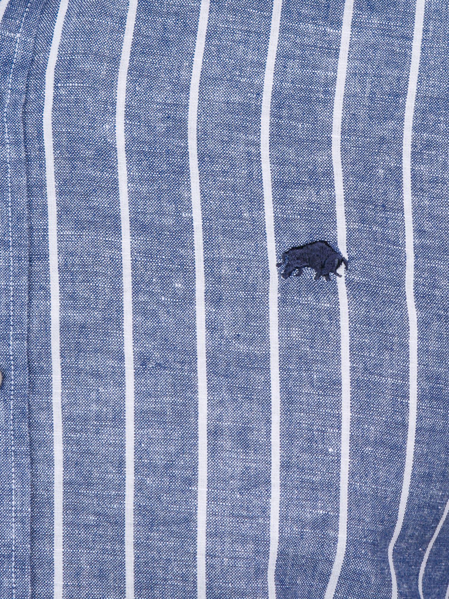 Raging Bull S/s Breton Stripe Linen Shirt in Navy (Blue) for Men