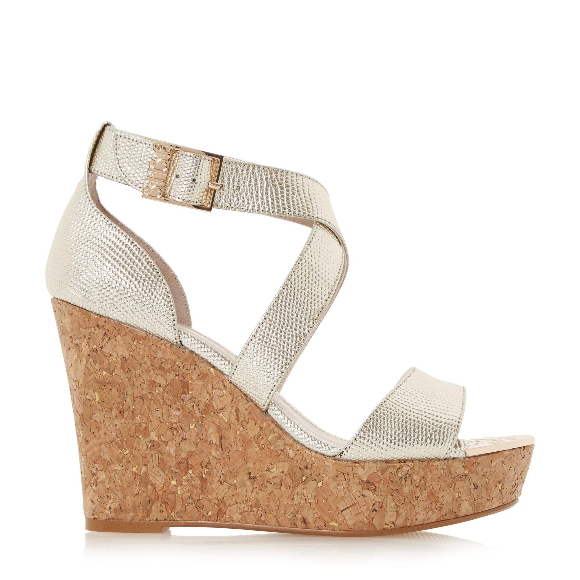 Biba Kanya Strap Wedge Sandals In Metallic Lyst