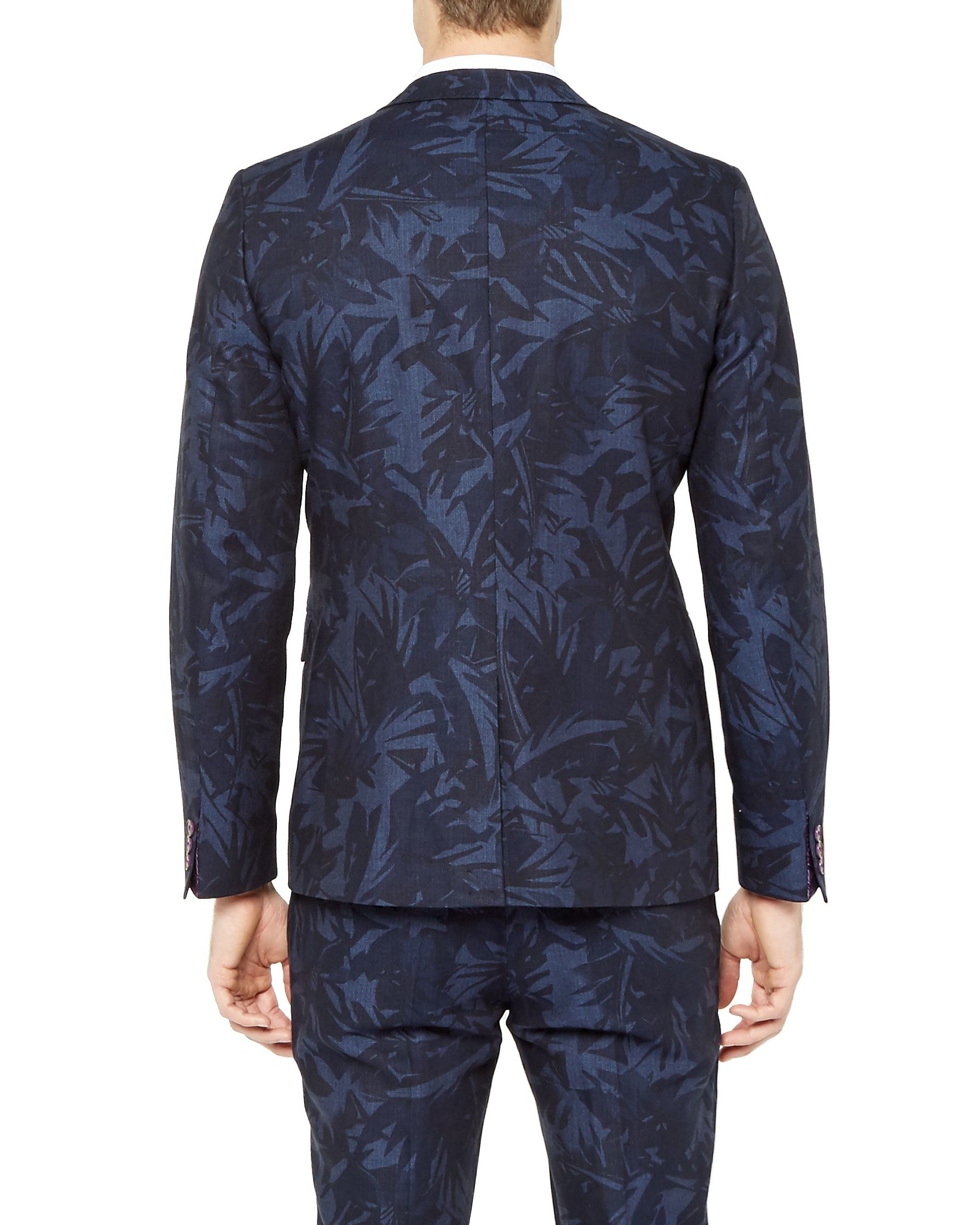 Ted Baker Dorkson Printed Linen Blazer in Navy (Blue) for Men