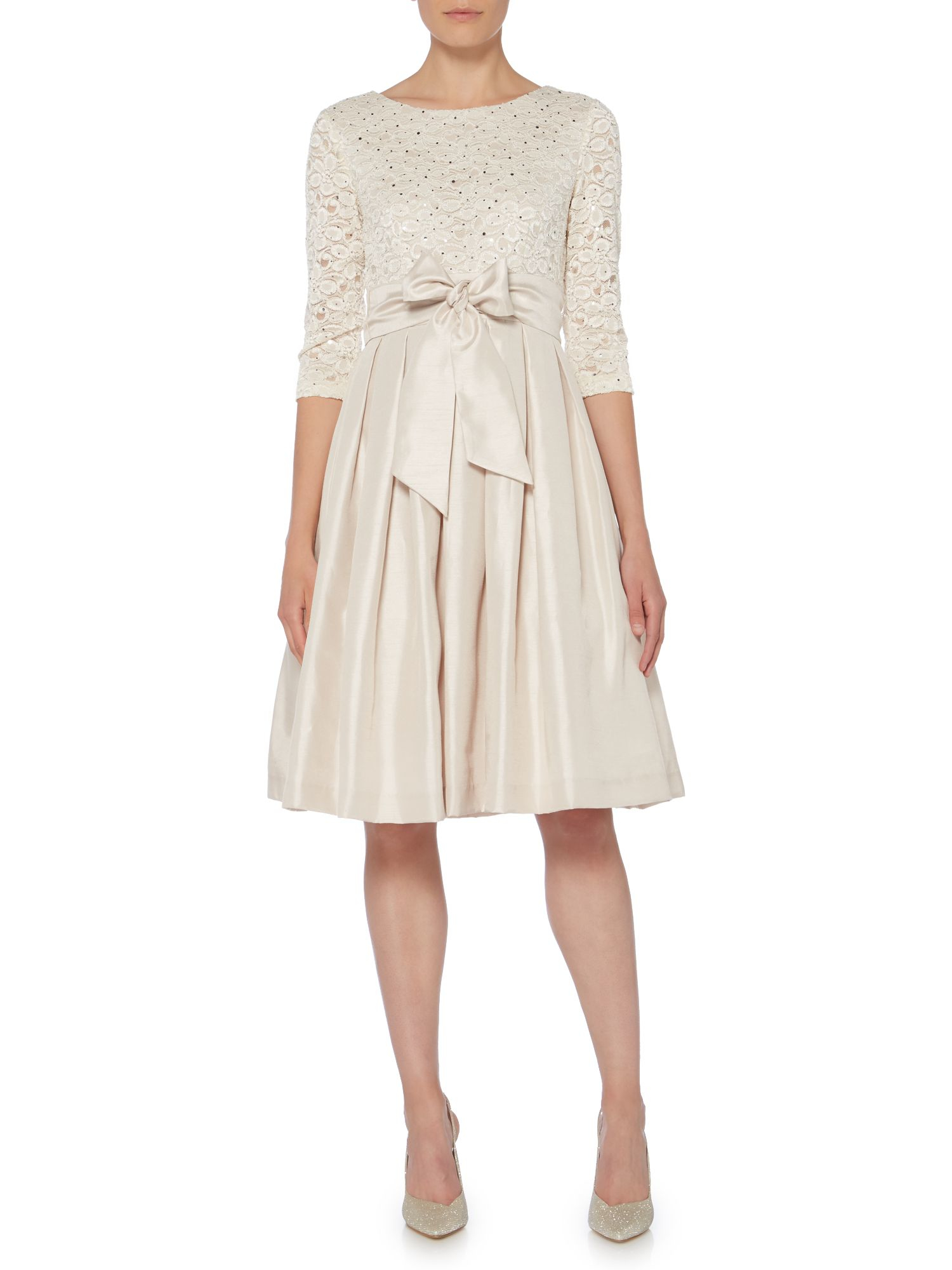 Eliza J Long Sleeve Fit And Flare Dress With Lace In
