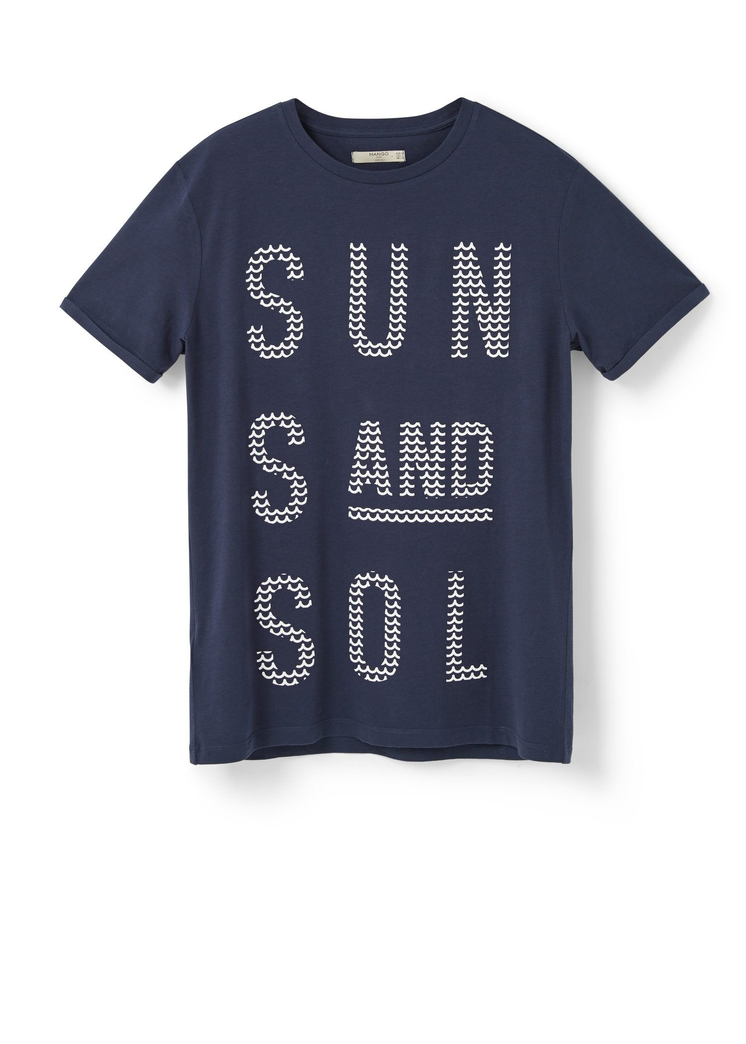 Mango Printed Text T Shirt In Blue For Men Lyst
