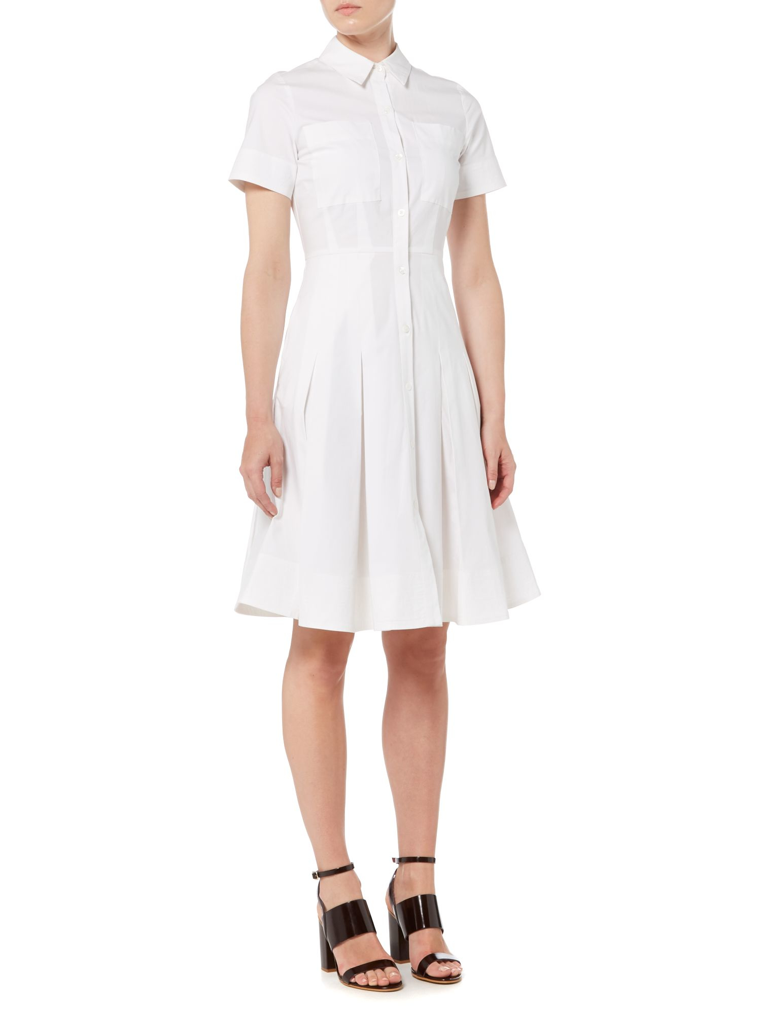 Lyst michael kors short sleeve shirt dress in white for Short sleeve white dress shirt