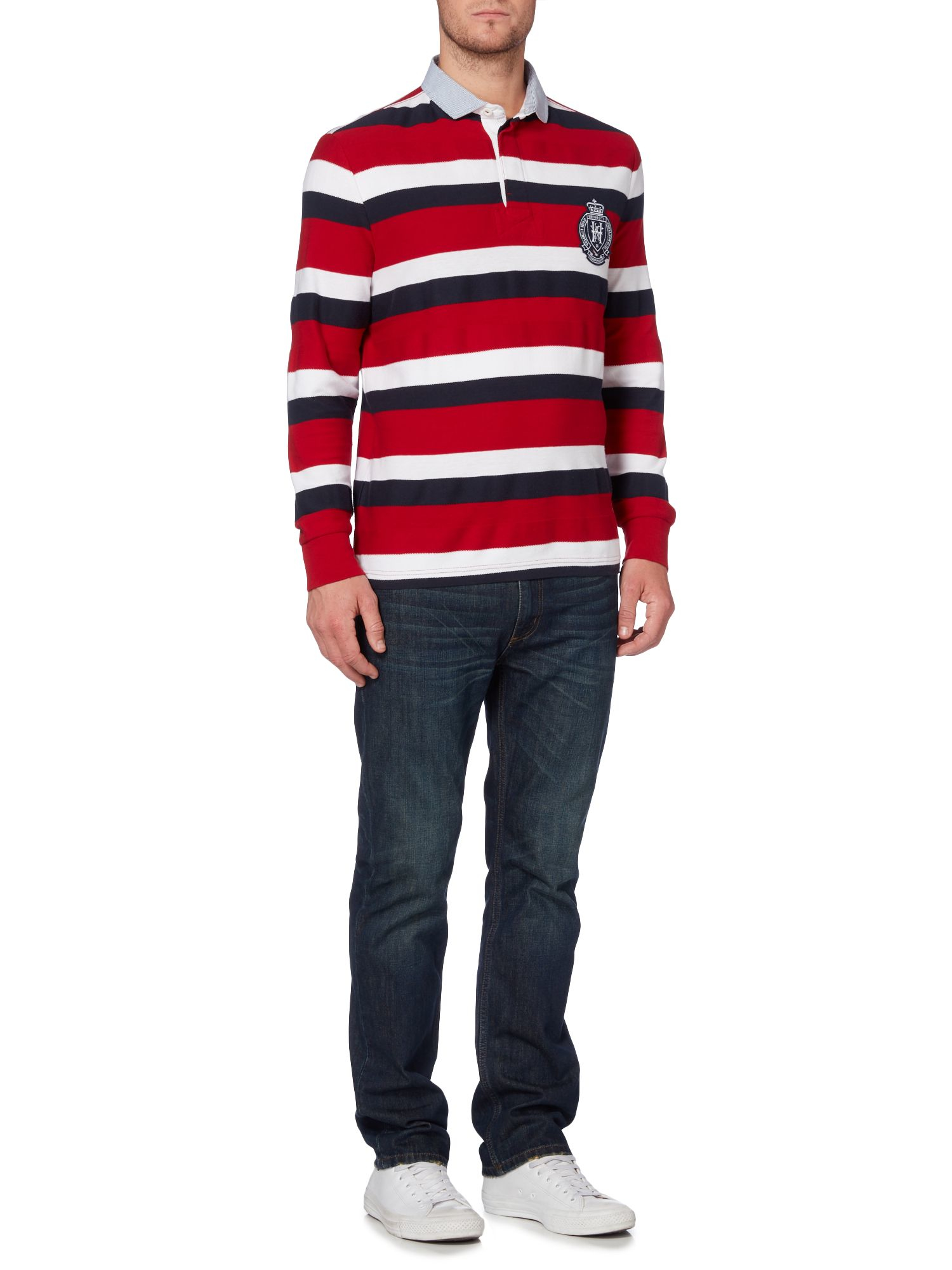 Howick Cotton Richmond Stripe Long Sleeve Rugby Shirt in Red for Men