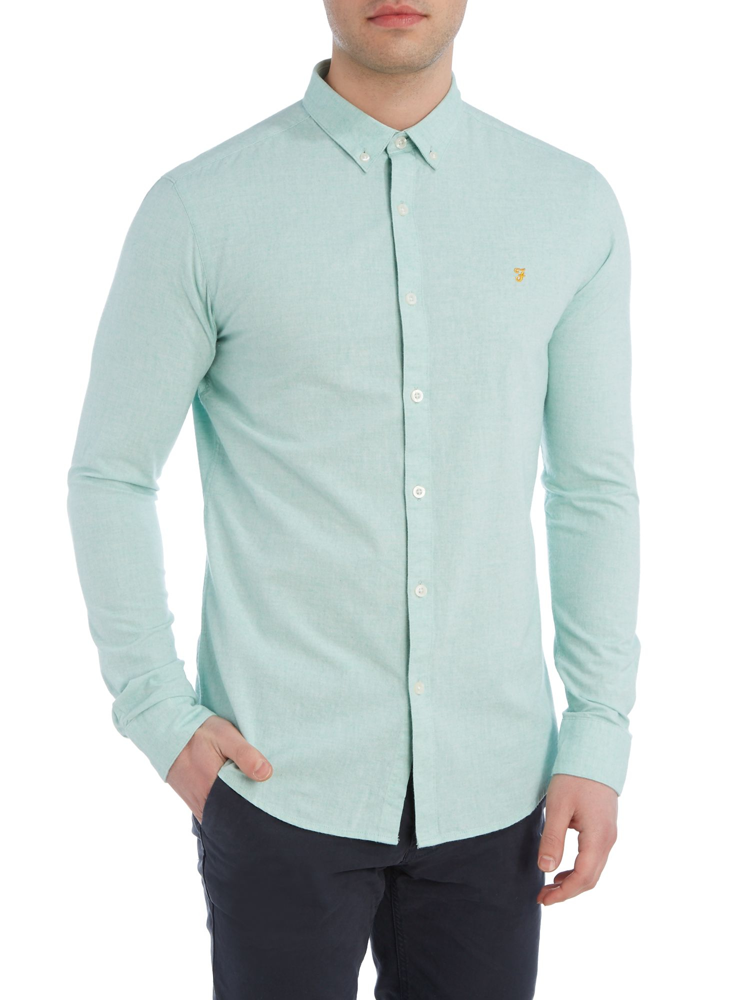 Farah Steen Slim Fit Button Down Oxford Shirt In Green For