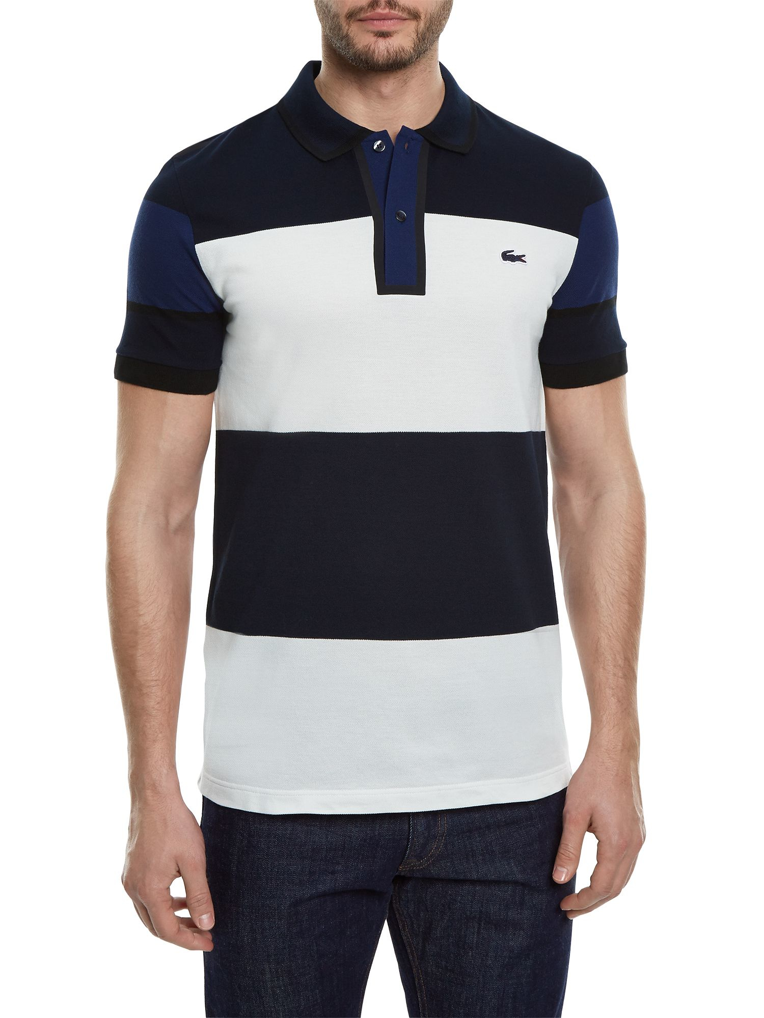 Lyst lacoste made in france striped piqu polo for men for Lacoste stripe pique polo shirt