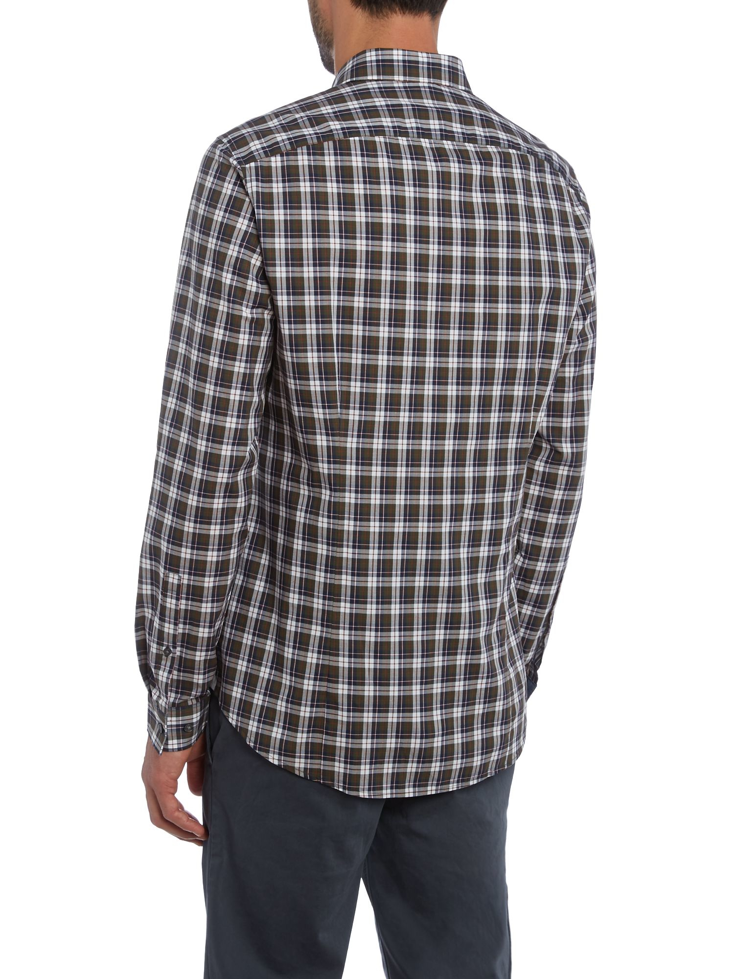 Michael kors slim fit mini collar plaid check shirt in for Slim fit check shirt
