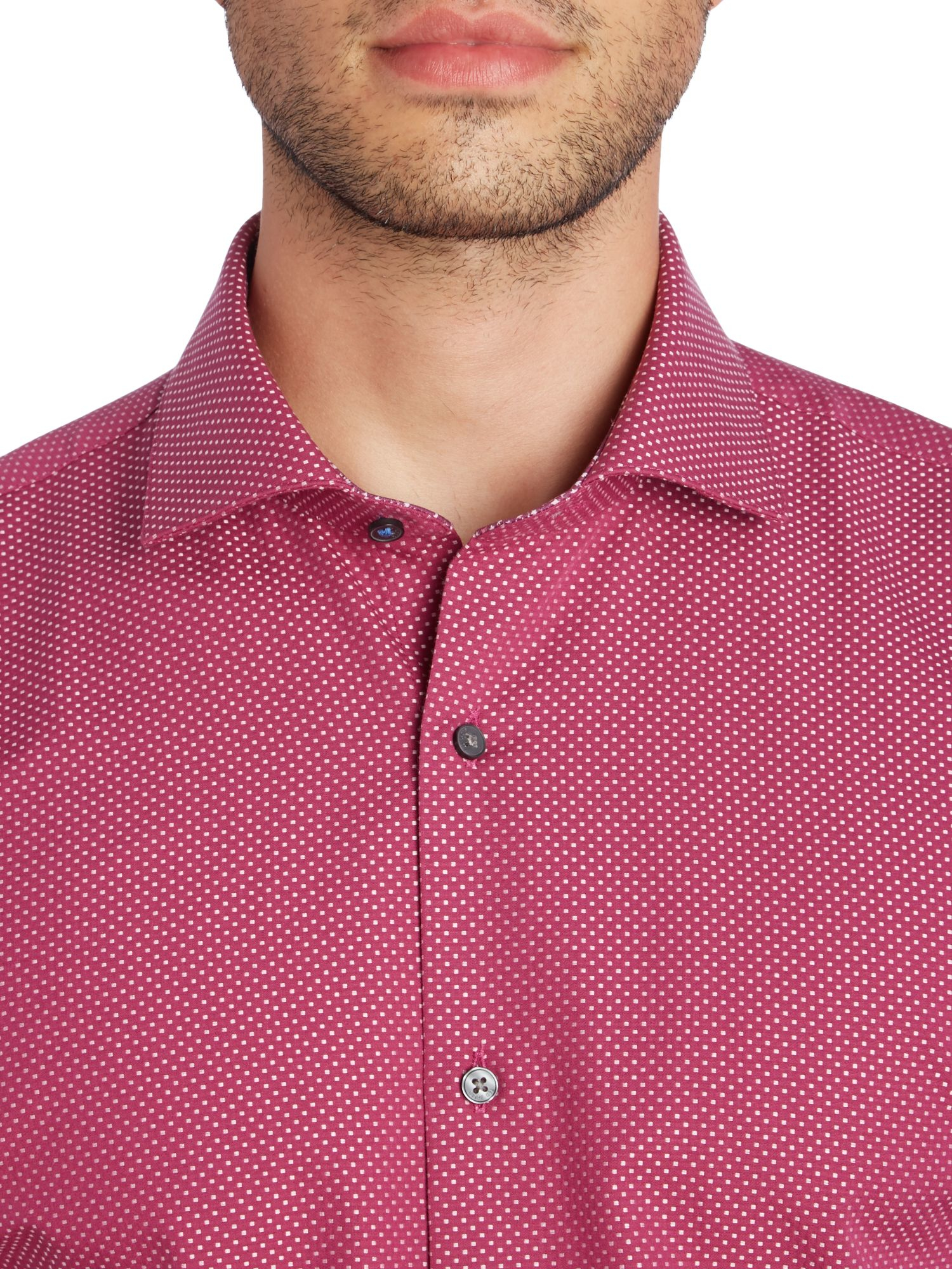 Ted Baker Cotton Tamson Square Geo Jacquard Shirt in Red for Men