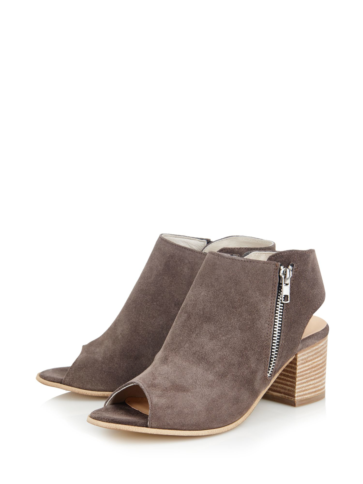 Cara Suede Pharo Peeptoe Ankle Boot in Grey (Brown)
