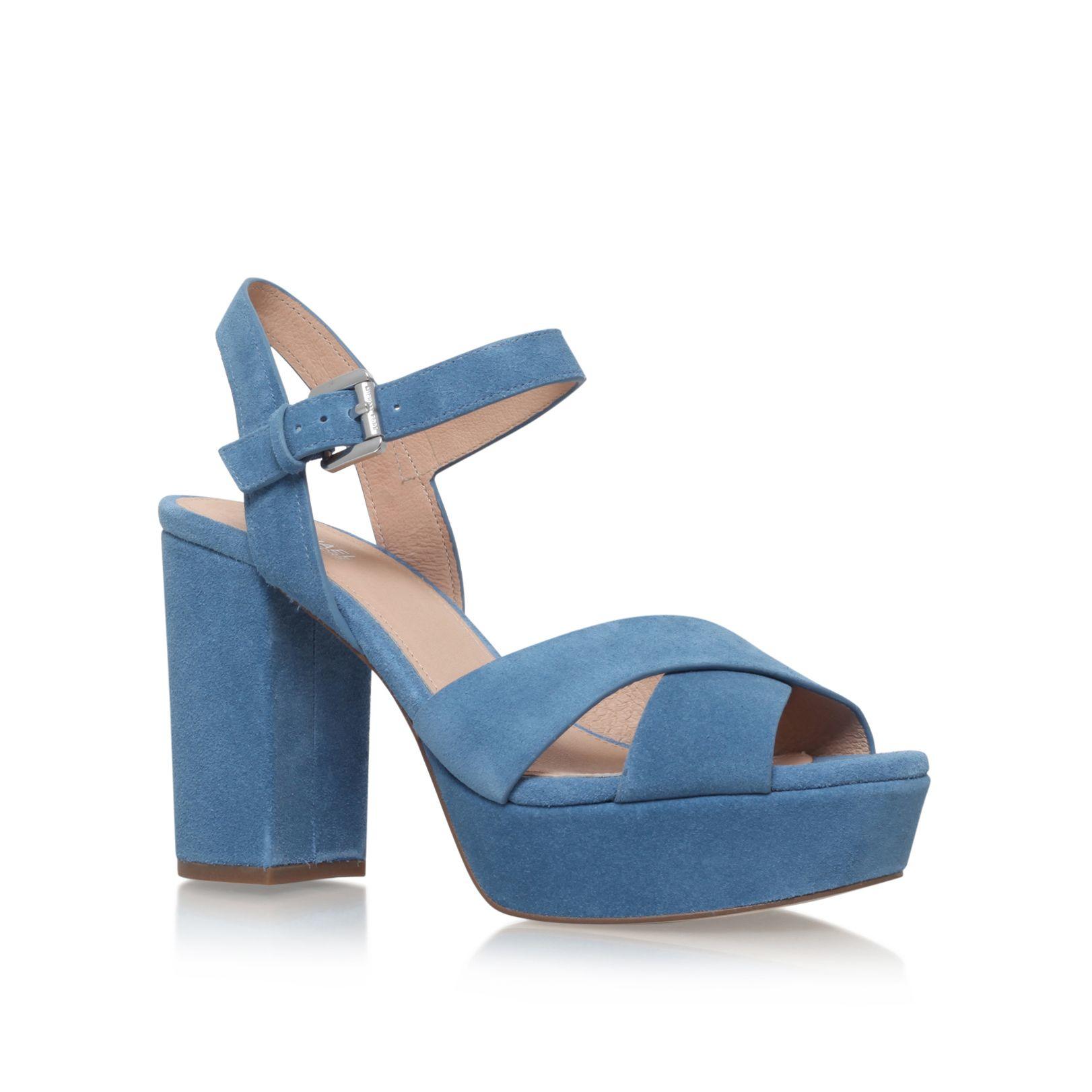 michael kors divia platform high heel sandals in blue lyst. Black Bedroom Furniture Sets. Home Design Ideas