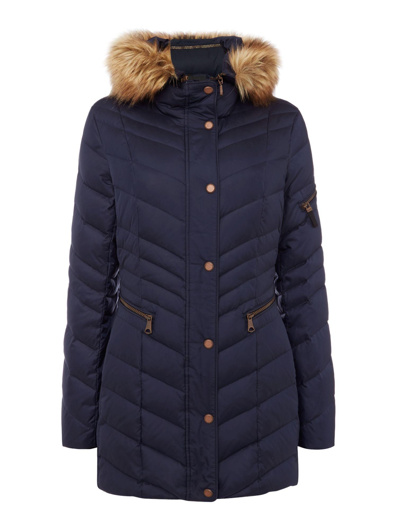 Andrew Marc Padded Coat With Faux Fur Hood In Navy Blue