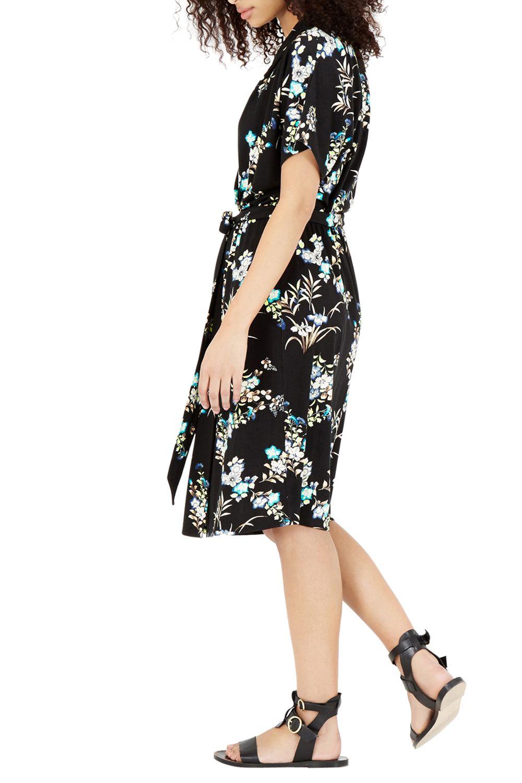 warehouse vintage floral wrap dress in black lyst