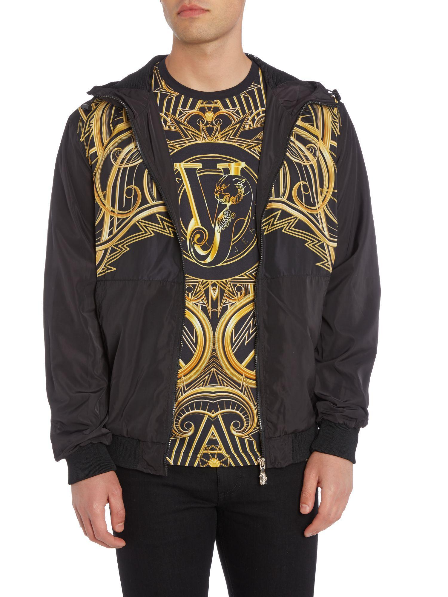 Versace Jeans Couture Denim Zip Through Lightweight Printed Hoodied Jacket in Black for Men