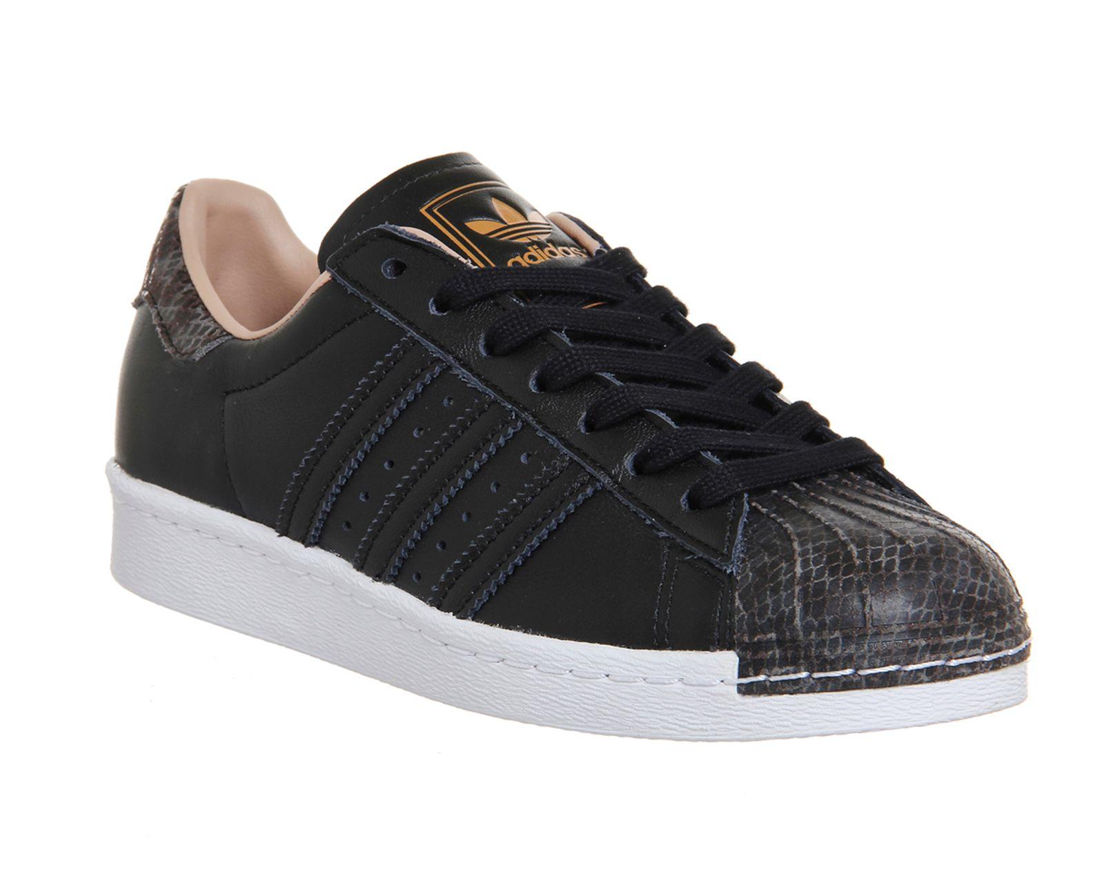 adidas Originals Superstar 80s Leather Trainers in Black