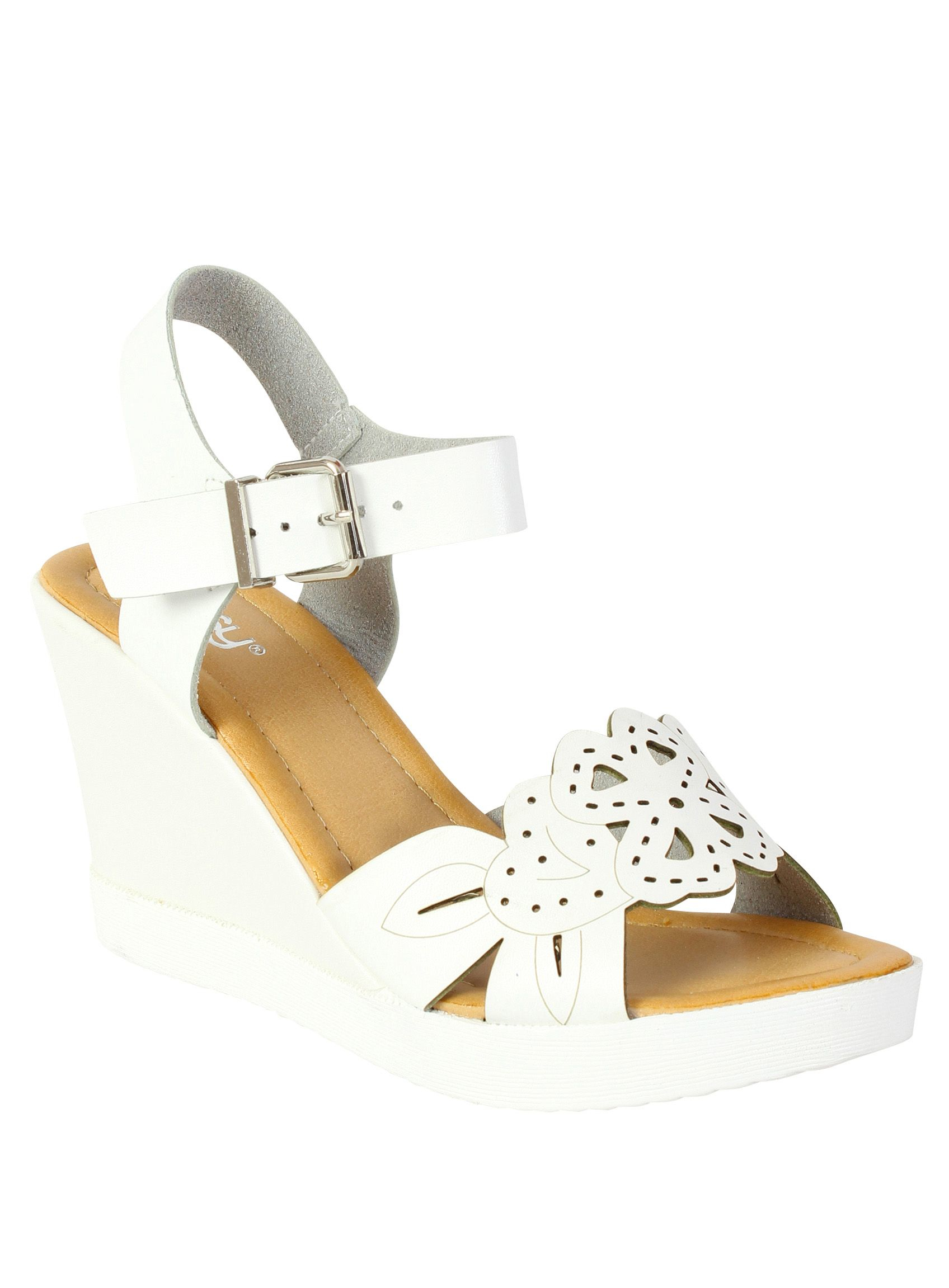 Women Laser Cut Casual Shoes White