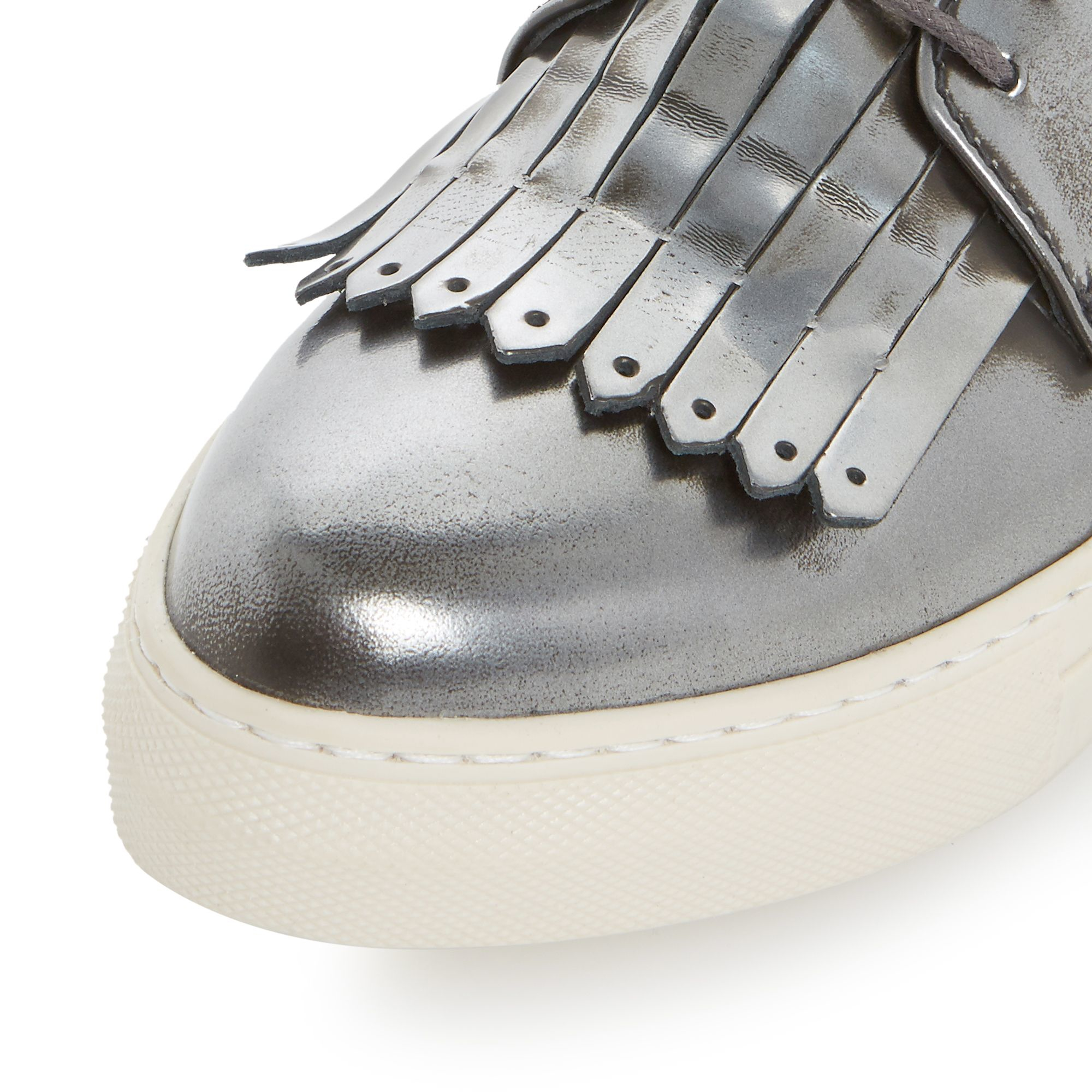 Dune Black Leather Eddy Fringe Detail Lace Up Trainers in Pewter (Metallic)