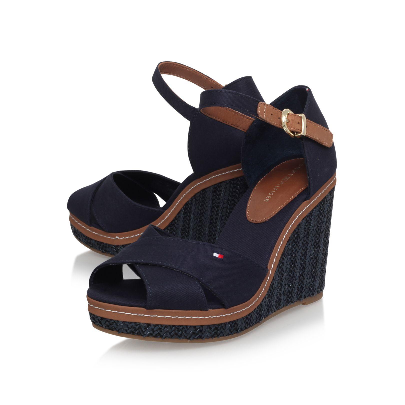 tommy hilfiger elena 4d high wedge heel sandals in blue lyst. Black Bedroom Furniture Sets. Home Design Ideas