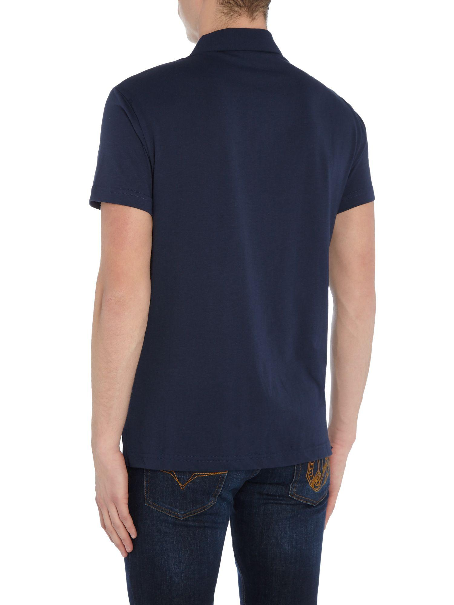 Versace Jeans Couture Denim All Over Tiger Print Polo Shirt in Navy (Blue) for Men
