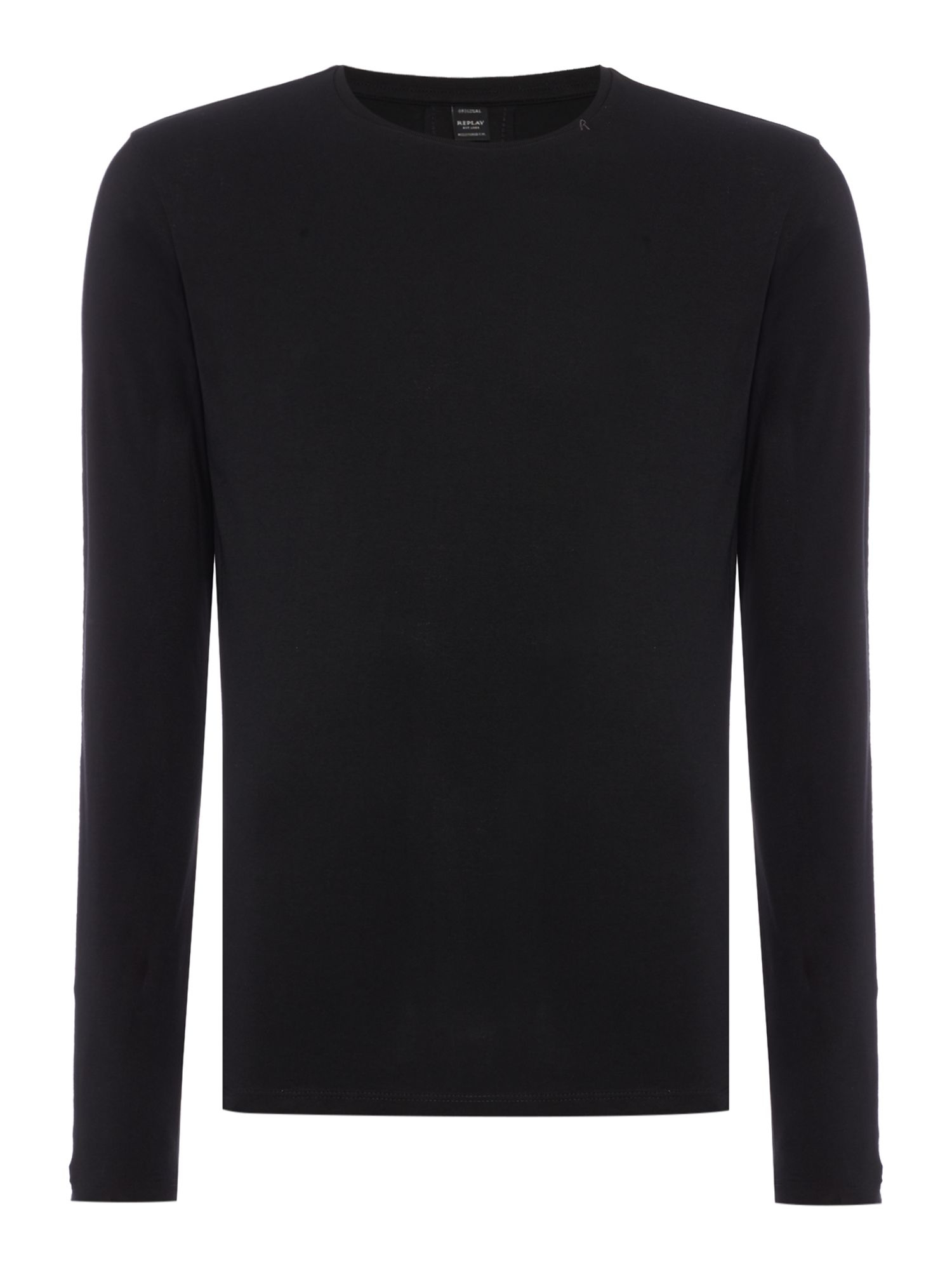 Lyst replay printed long sleeve t shirt in black for men for Long sleeve t shirt printing