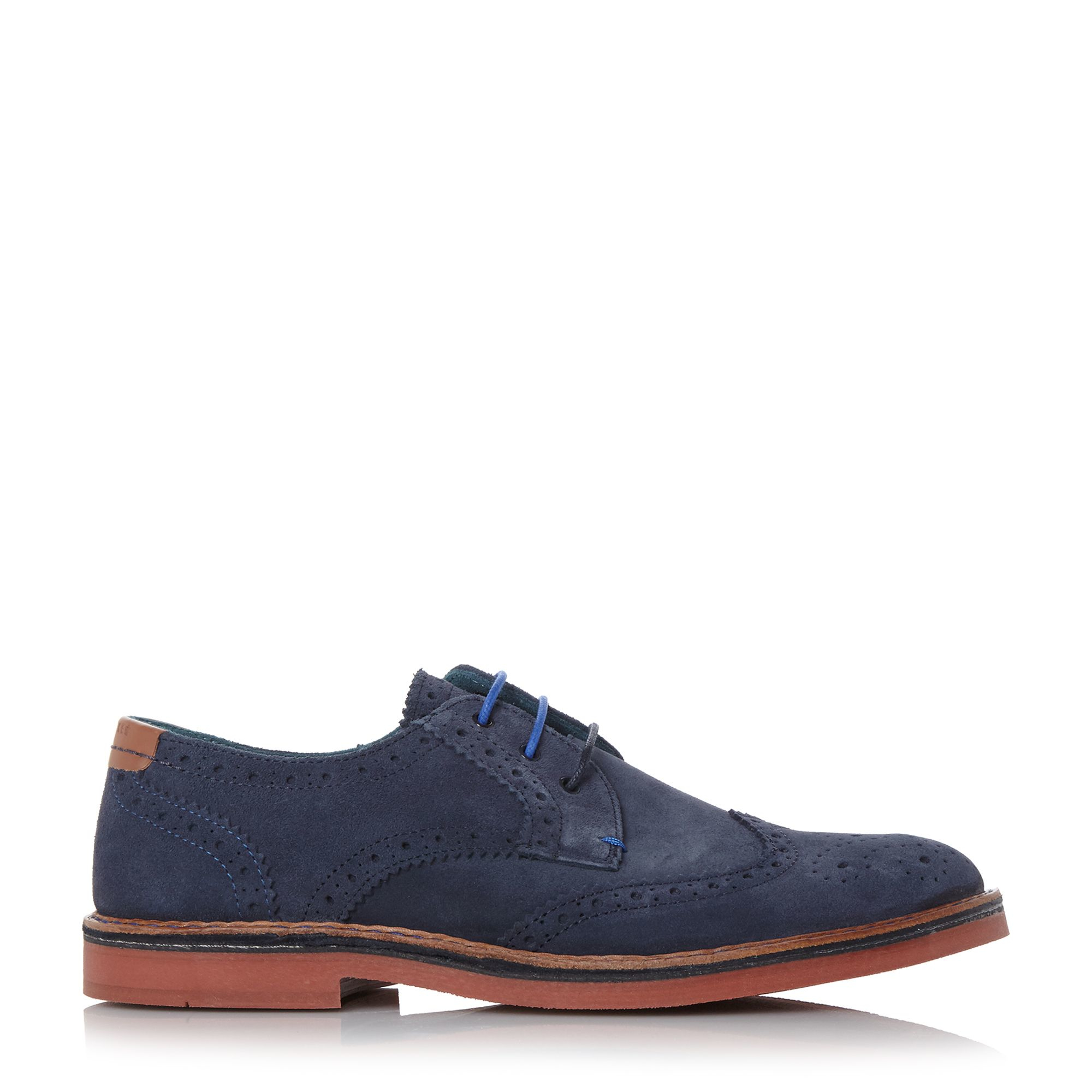 Ted Baker Suede Reith Brogue Shoes in Navy (Blue) for Men