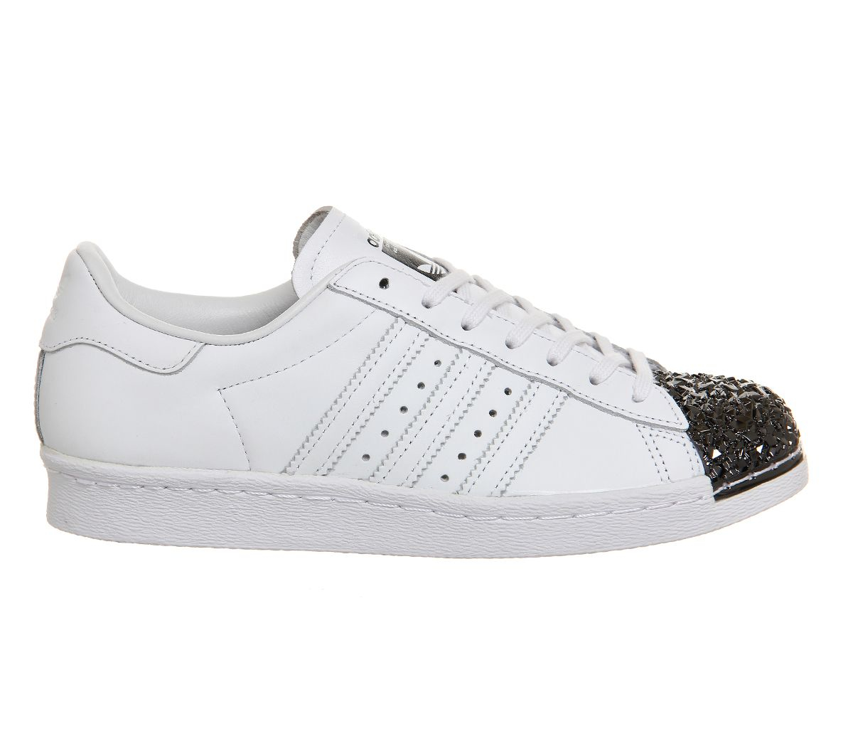 adidas Originals Leather Superstar 80`s Metal Toe Trainers in Black/White (White)