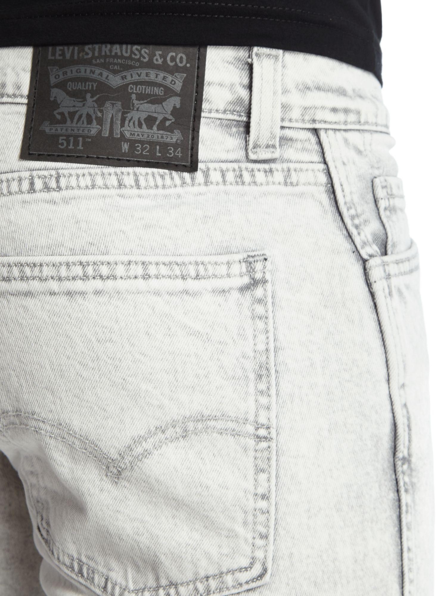 Levi's Denim Line 8 511 Dirty White Slim Fit Jeans in Light Grey (Grey) for Men